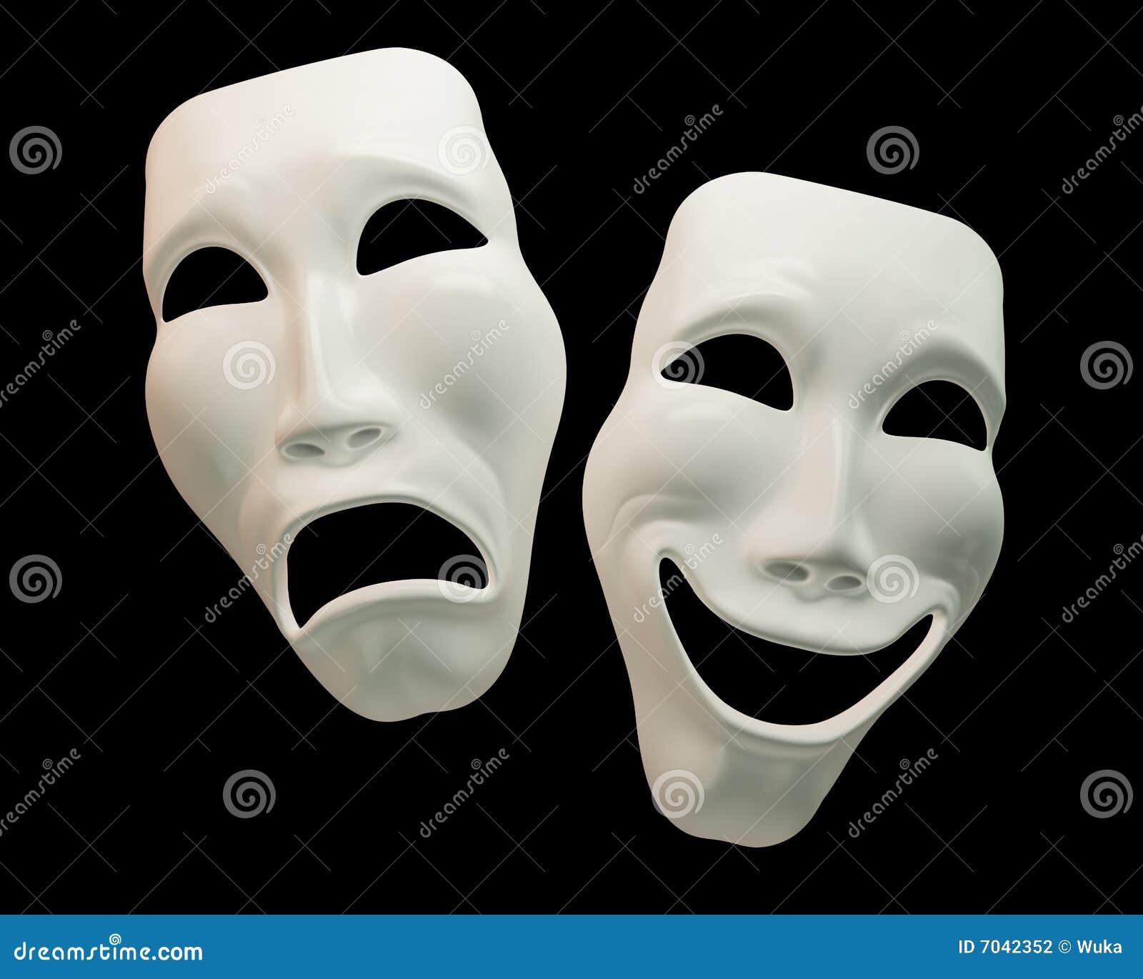 Download Drama And Comedy Theatre Masks Stock Illustration - Illustration of dark, white: 7042352