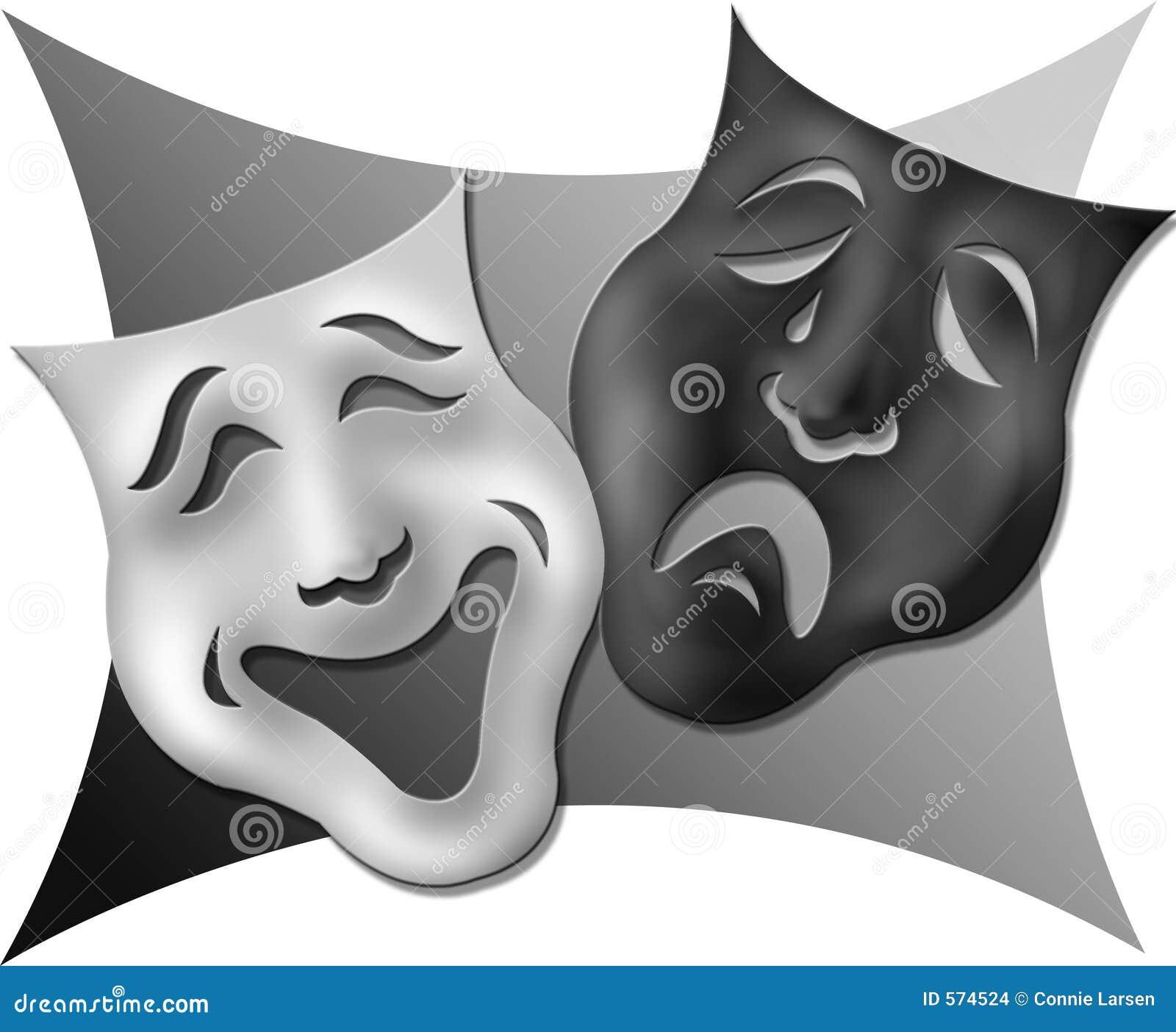 drama masks black and white stock images image 574524