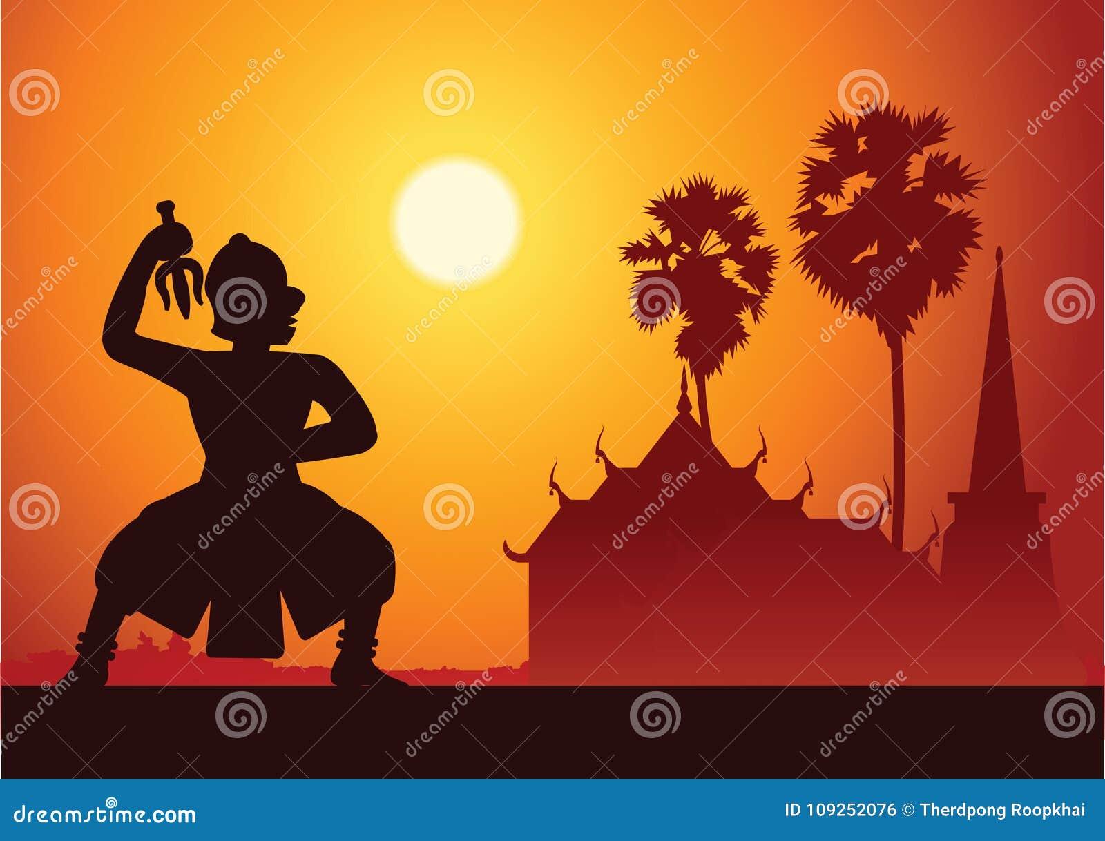 Dramakonst för traditionell dans av thailändskt maskerat klassiskt Thailändskt ancien