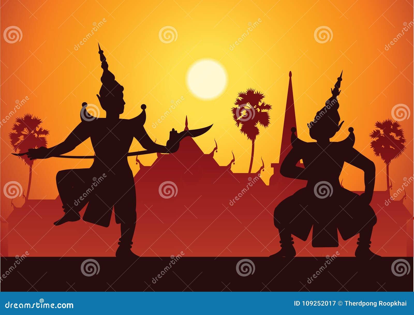 Dramakunst des traditionellen Tanzes von thailändischem klassischem maskiert Thailändisch ancien