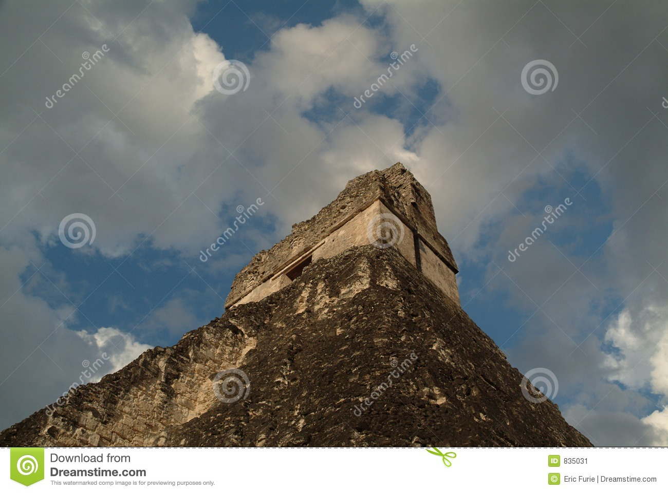 Dramatic Angle on Mayan Temple and Sky