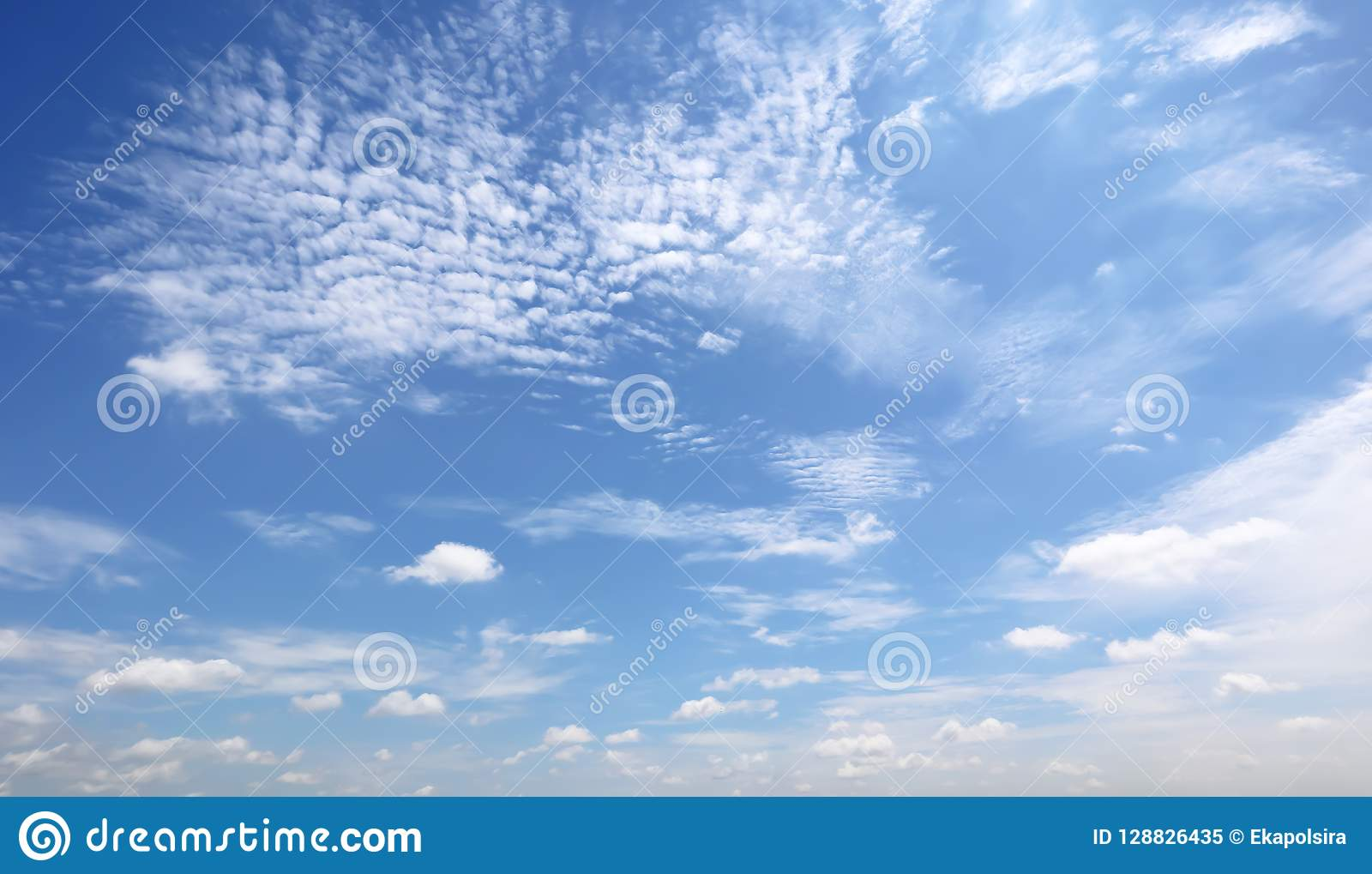 Dramatic atmosphere panorama view of beautiful morning blue sky.