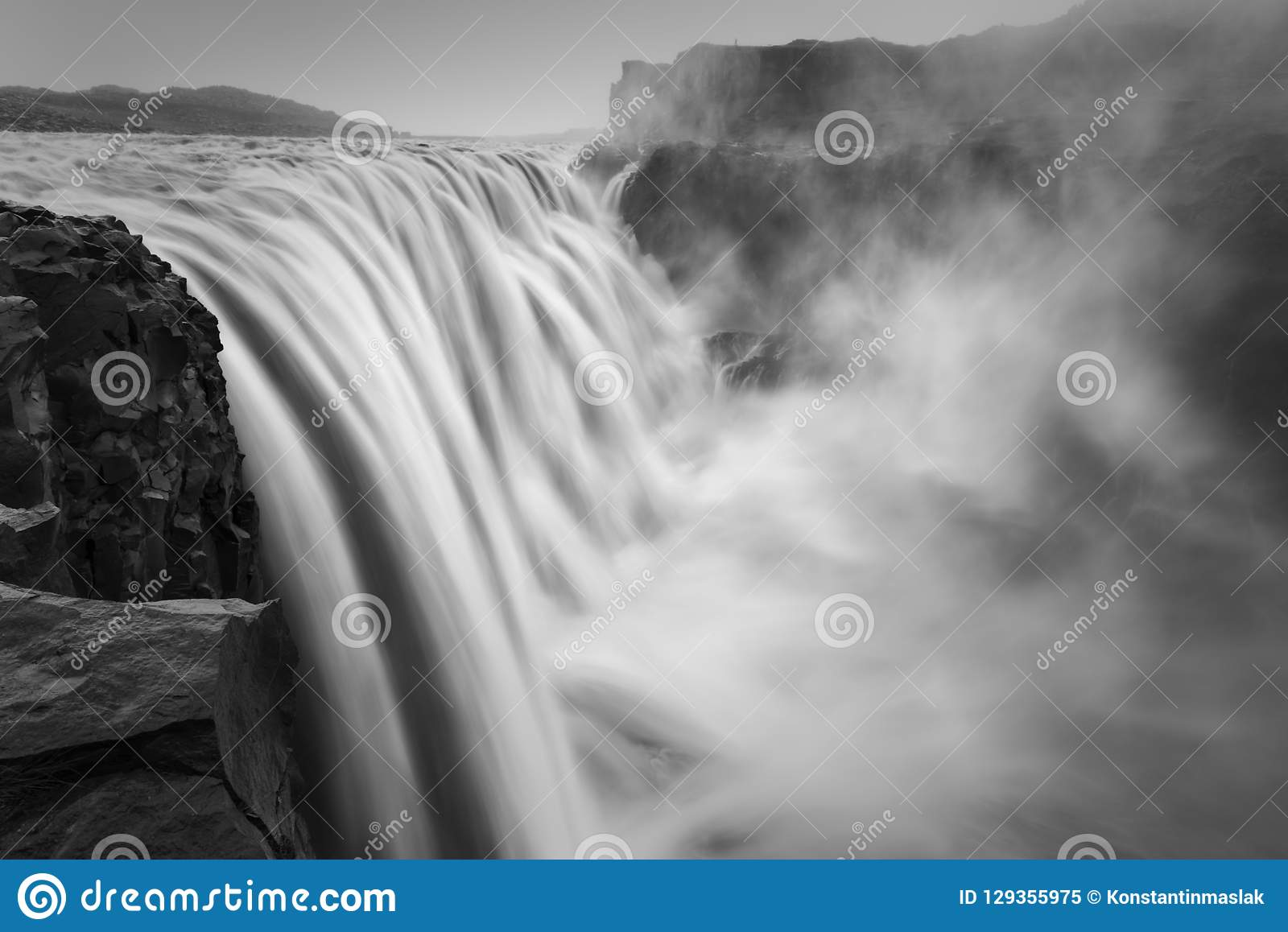 Dramatic black and white landscape of Dettifoss, the biggest waterfall