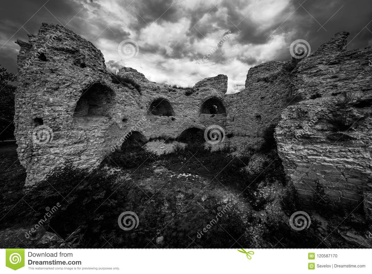 Dramatic black and white photo with ancient ruins