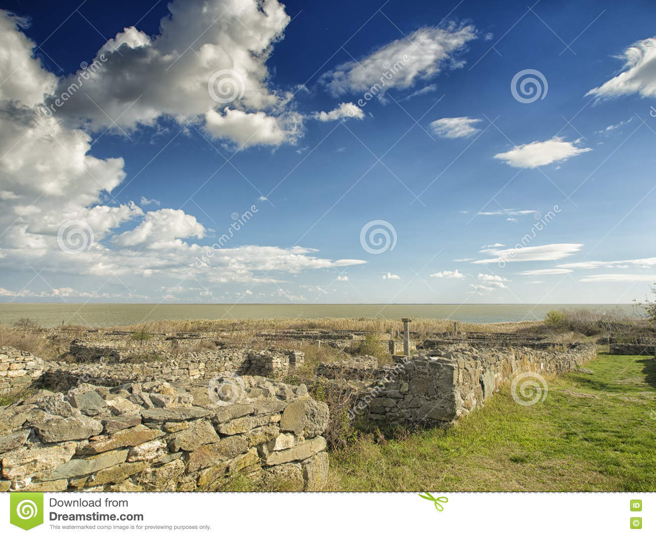 Dramatic Blue Sky With White Clouds Over The Ruins Of The