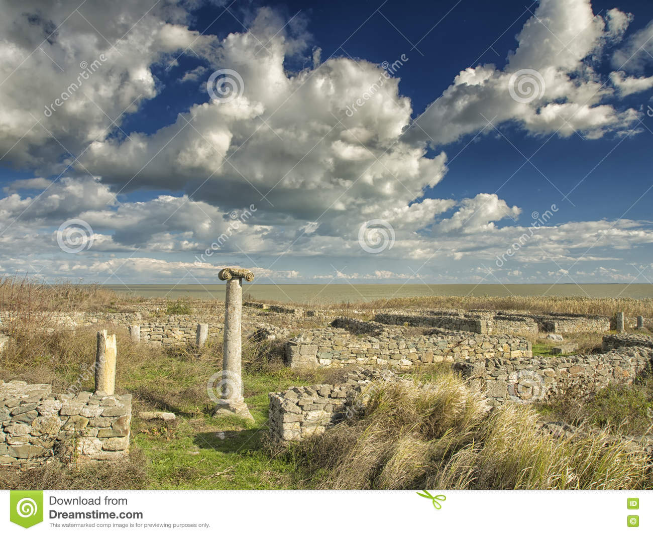 Dramatic Blue Sky With White Clouds Over The Ruins Of An