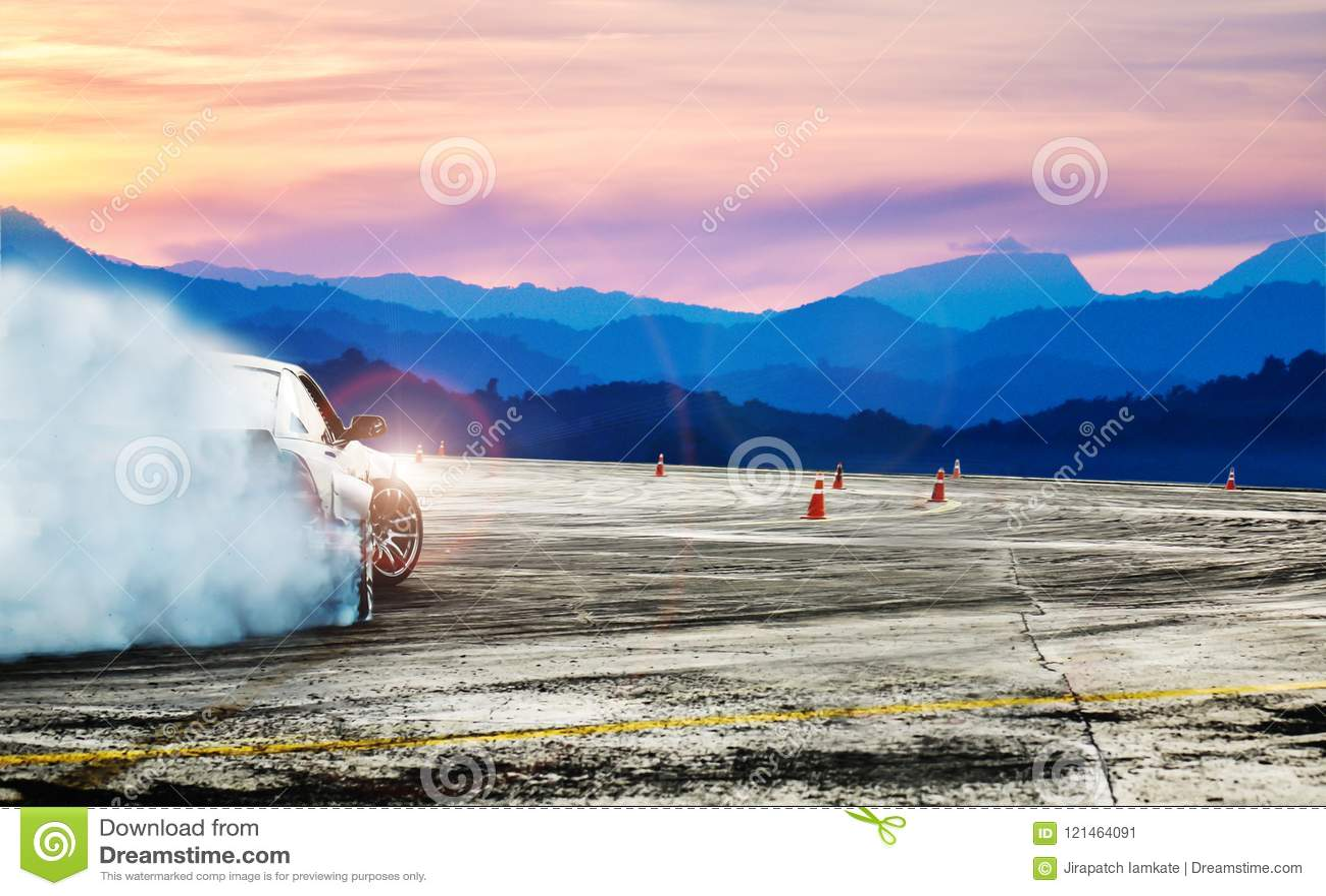 Dramatic car drifting, Blurred of image diffusion race drift car