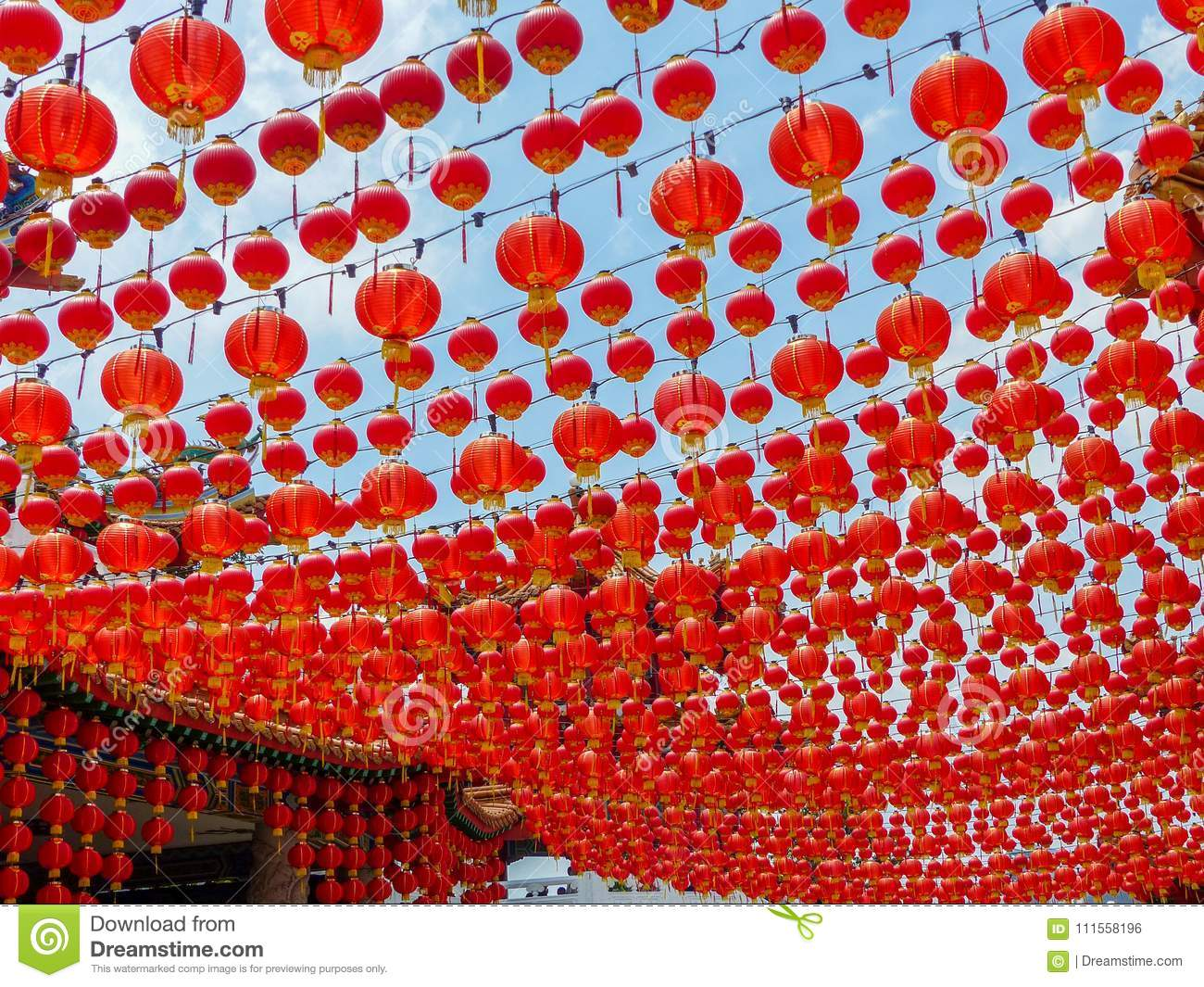 Dramatic Chinese Red Lantern Canopy At A Chinese Temple In