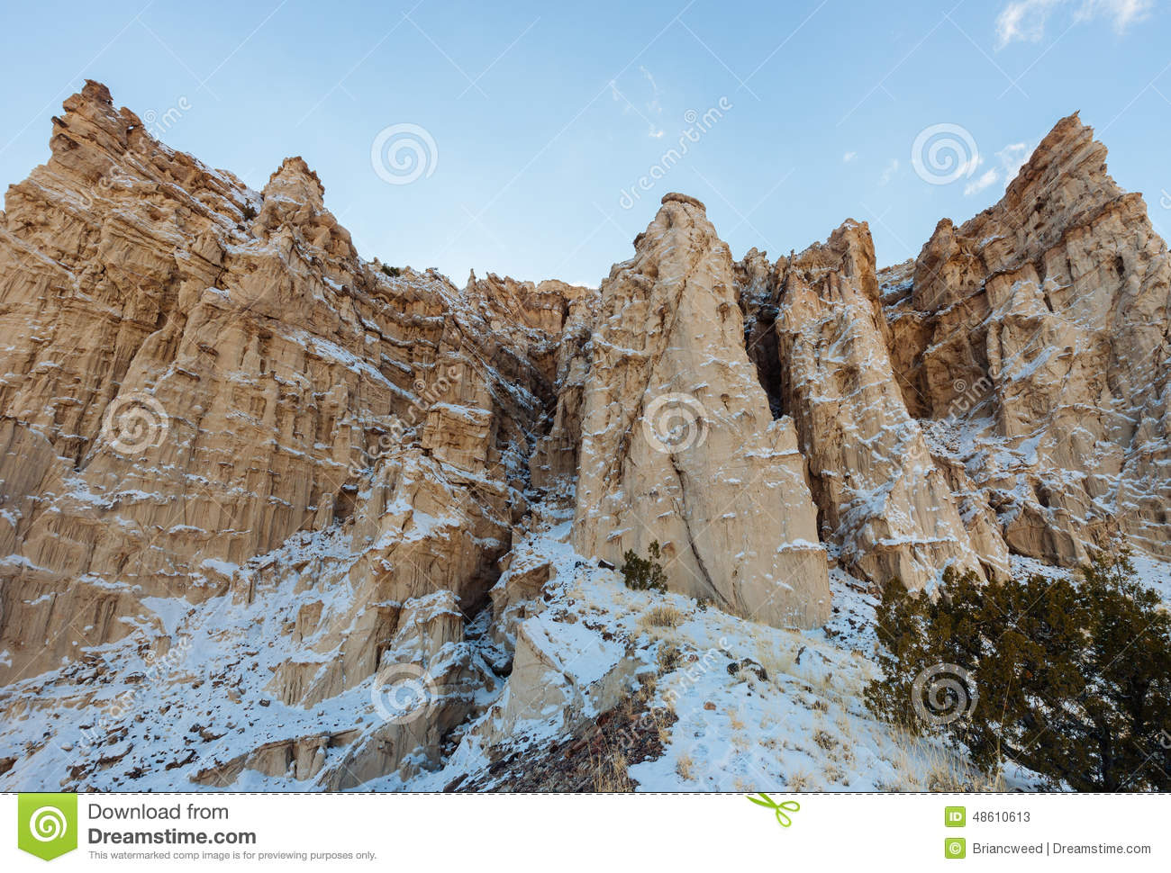 Dramatic Cliffs of New Mexico in Snow