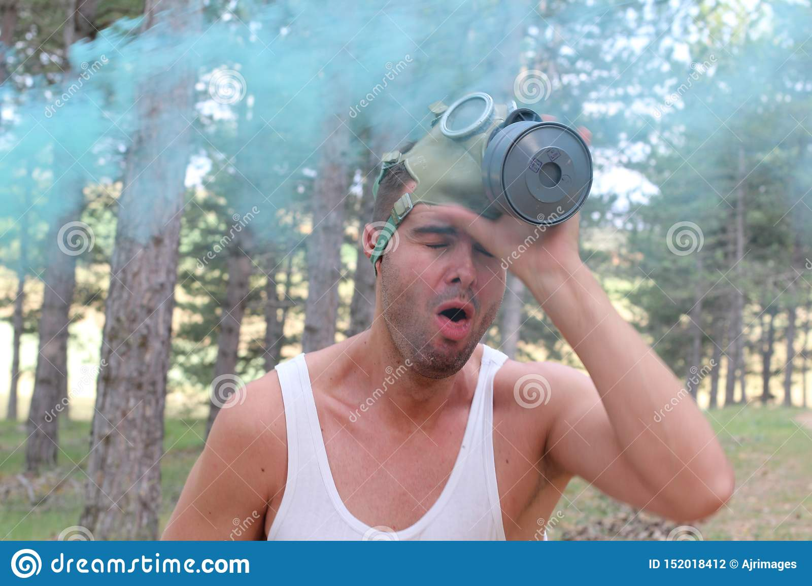 Dramatic image of man experimenting difficulties to breath