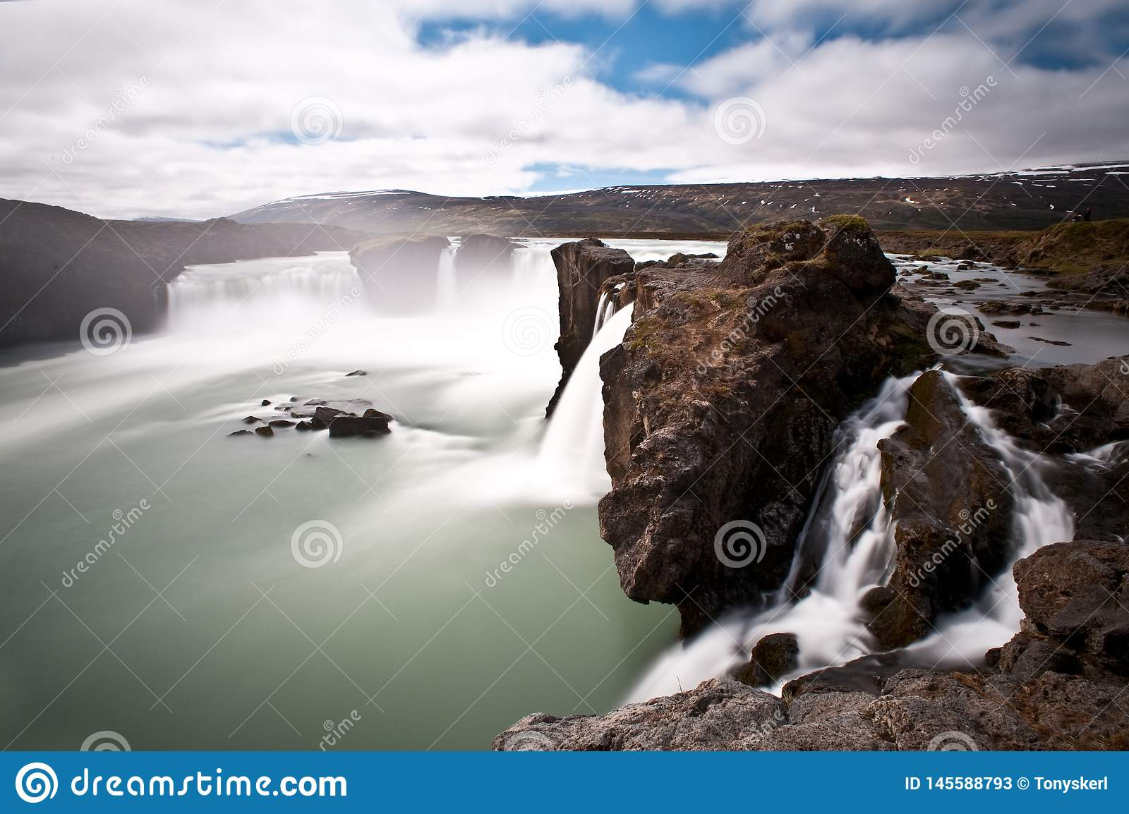 Dramatic long exposure image of Godafoss waterfall,Iceland,Europe
