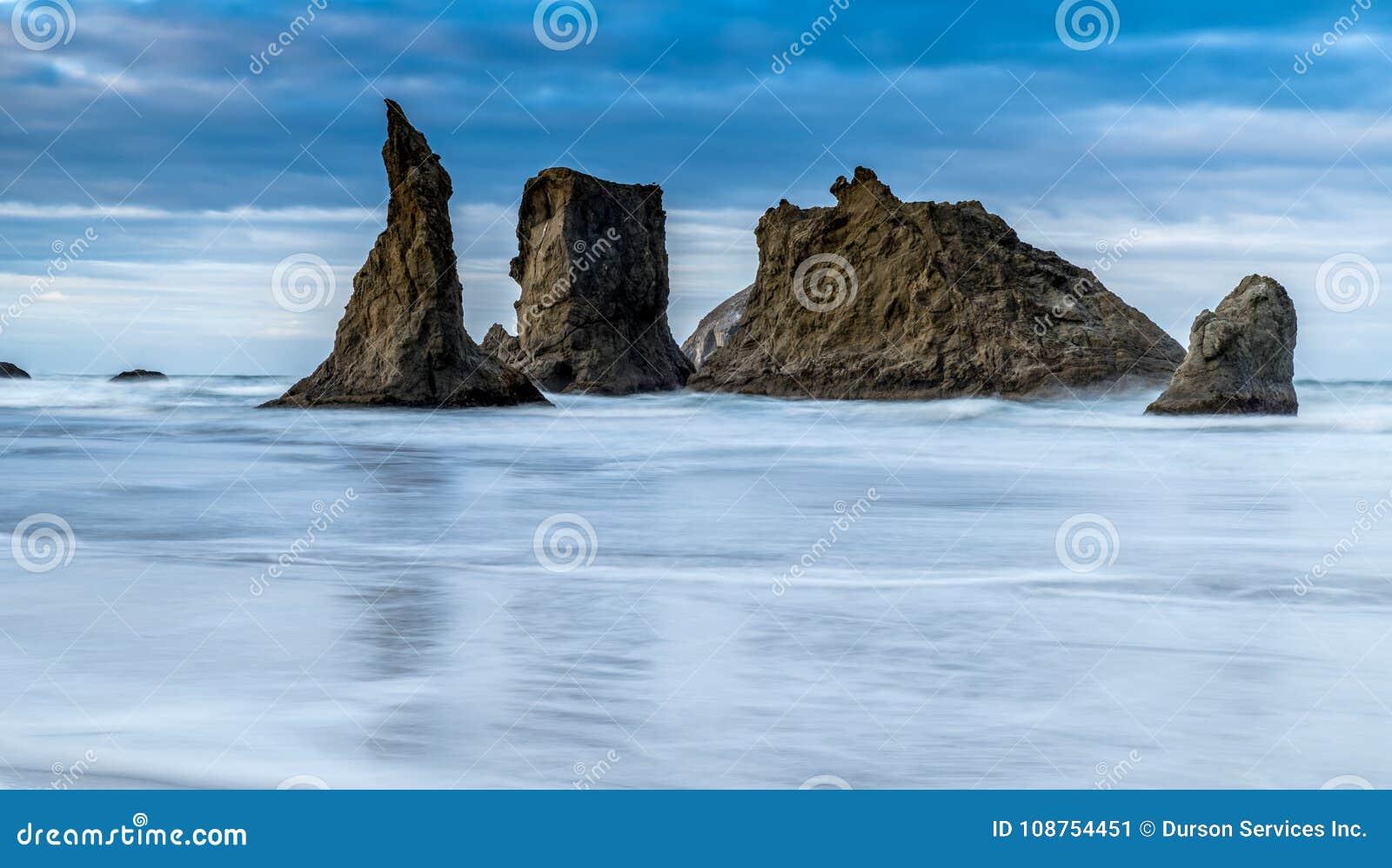 dramatic ocean scene in bandon oregon stock image image of
