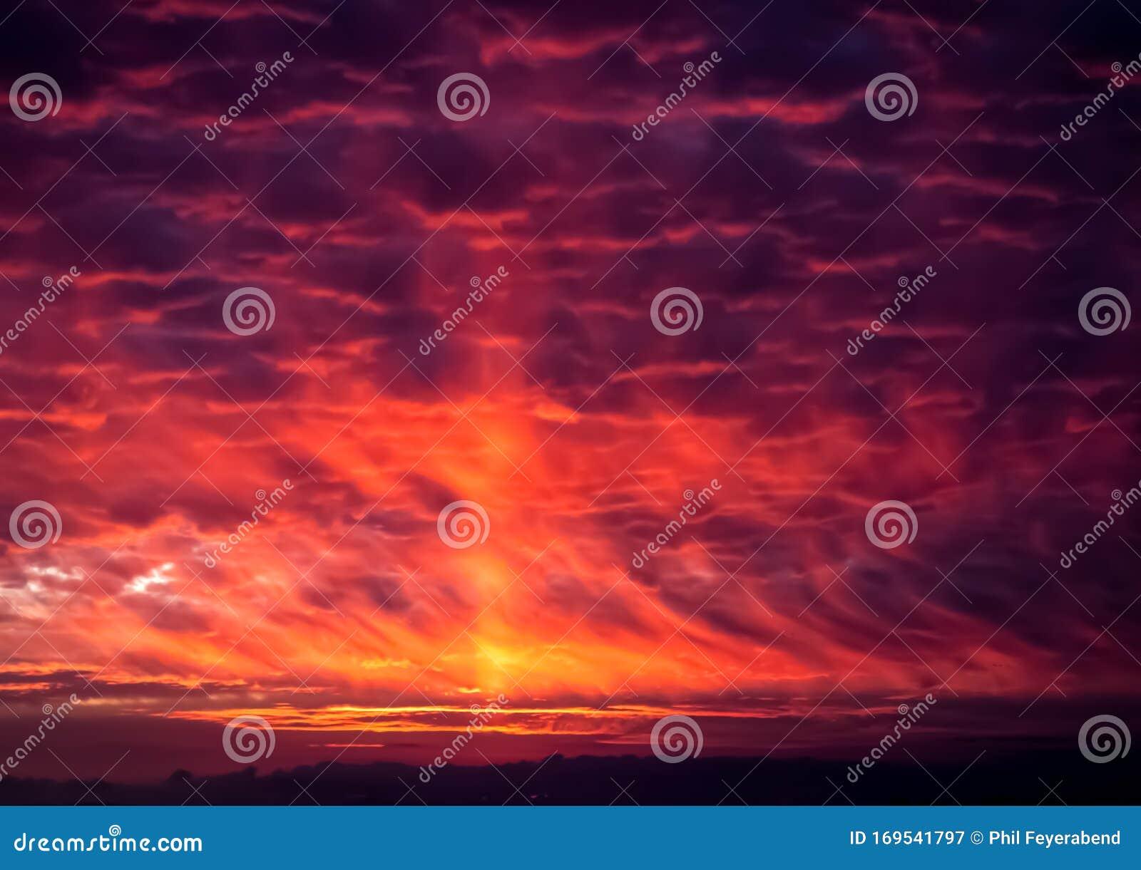 Dramatic Orange And Purple Sunset Stock Image Image Of Purple Beautiful 169541797