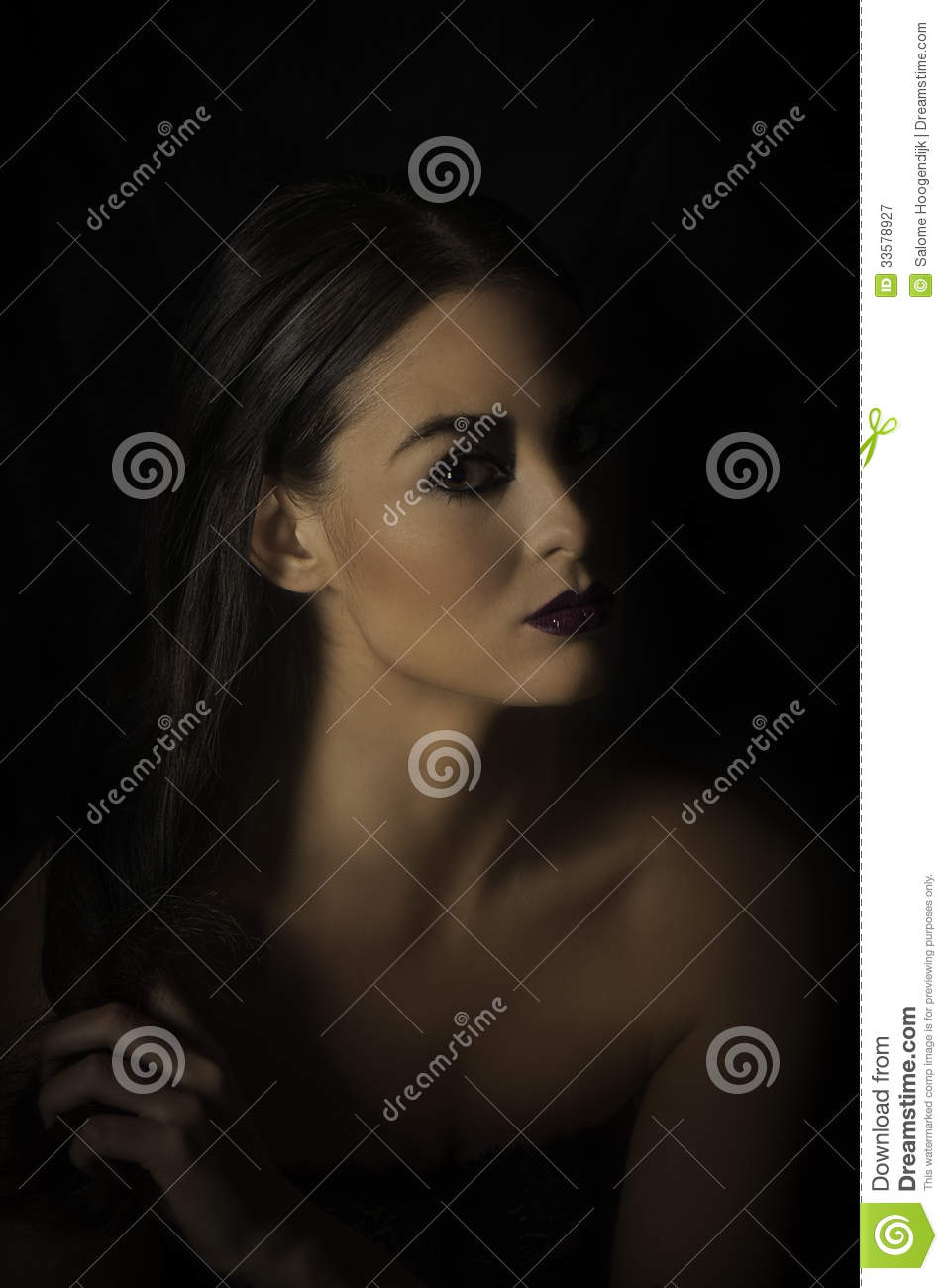 Dramatic Portrait Of Dark Haired Woman In Black Stock Image Image
