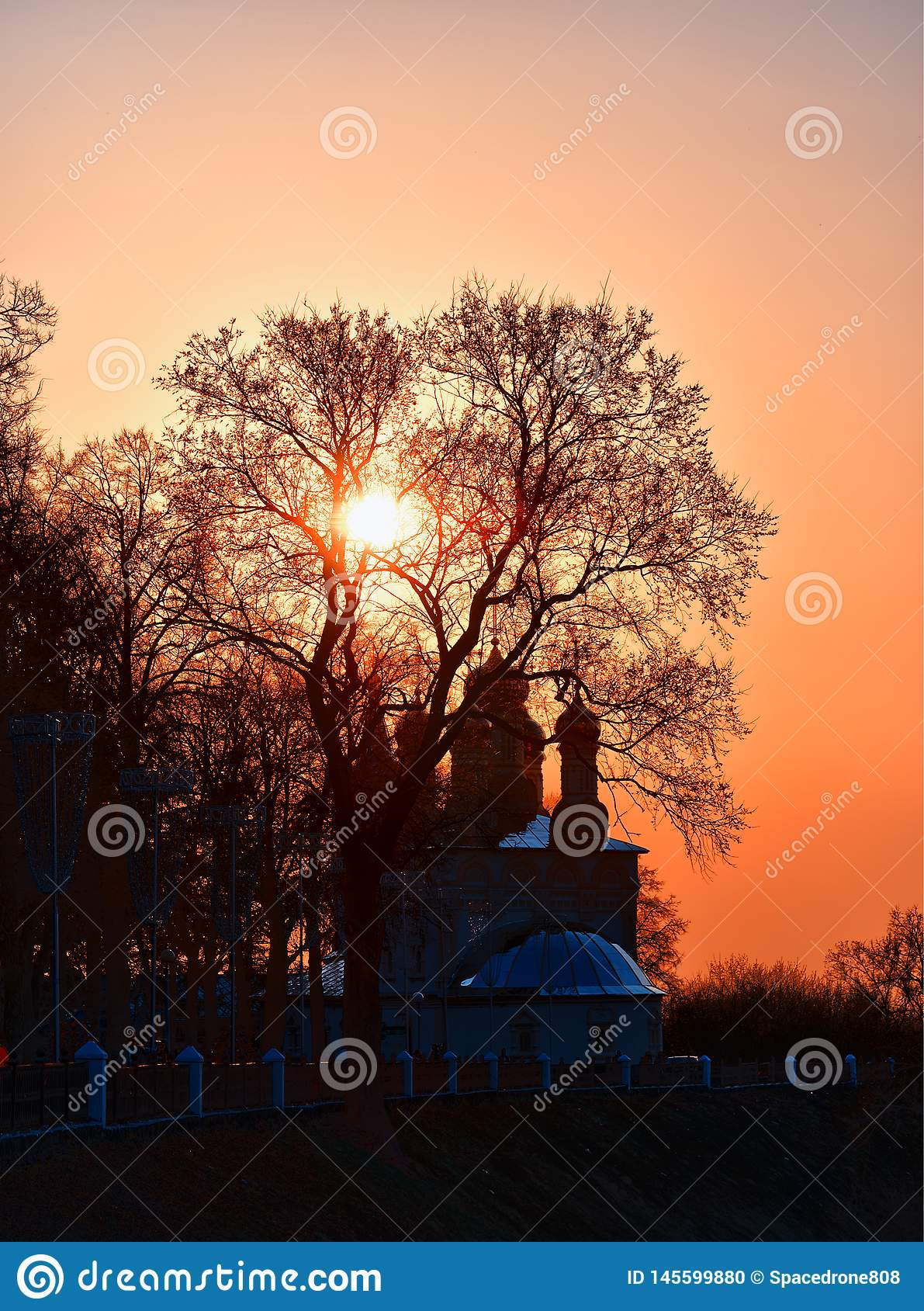 Dramatic Russian Church During Stunning Sunset Background