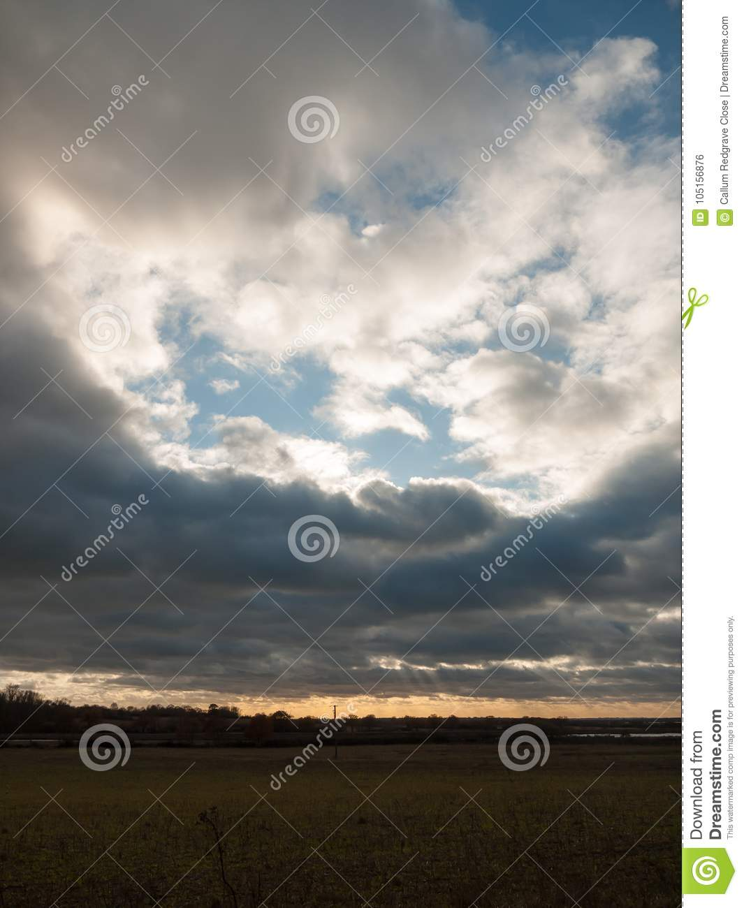 Dramatic Sky Over Open Empty Grassland Plain Special Stock