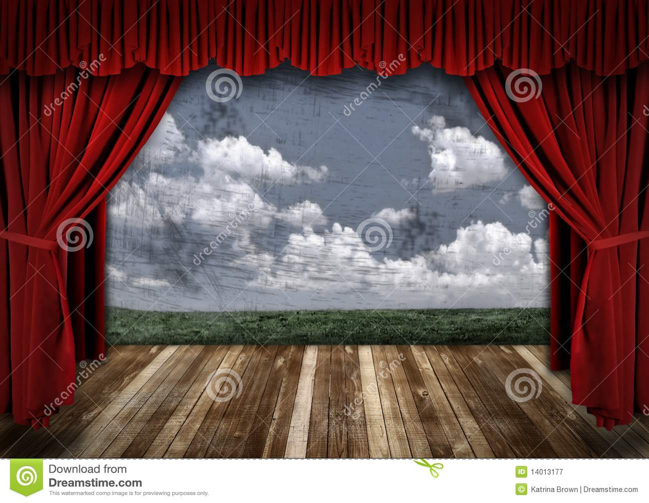 Dramatic Stage With Red Velvet Theater Curtains Royalty Free Stock ...