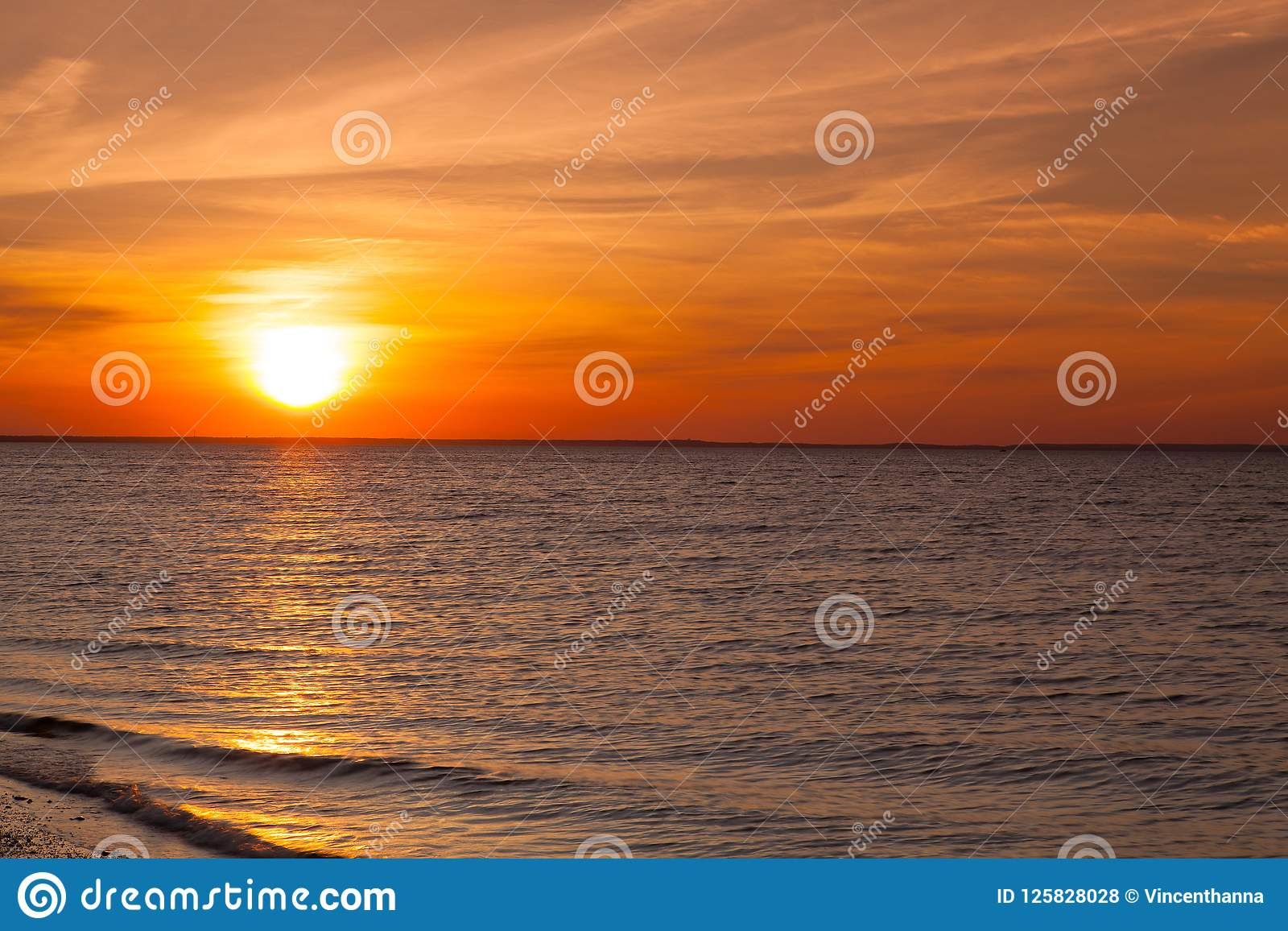 Dramatic Sunset On The Beach, Cape Cod, USA Stock Photo