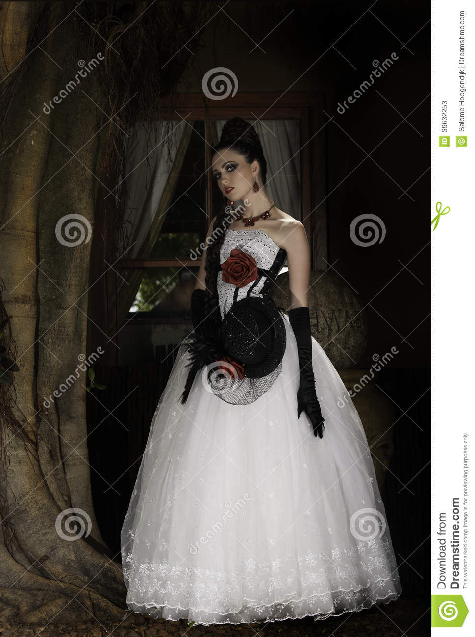 Dramatic Woman In Red, White And Black Couture Stock Image - Image ...