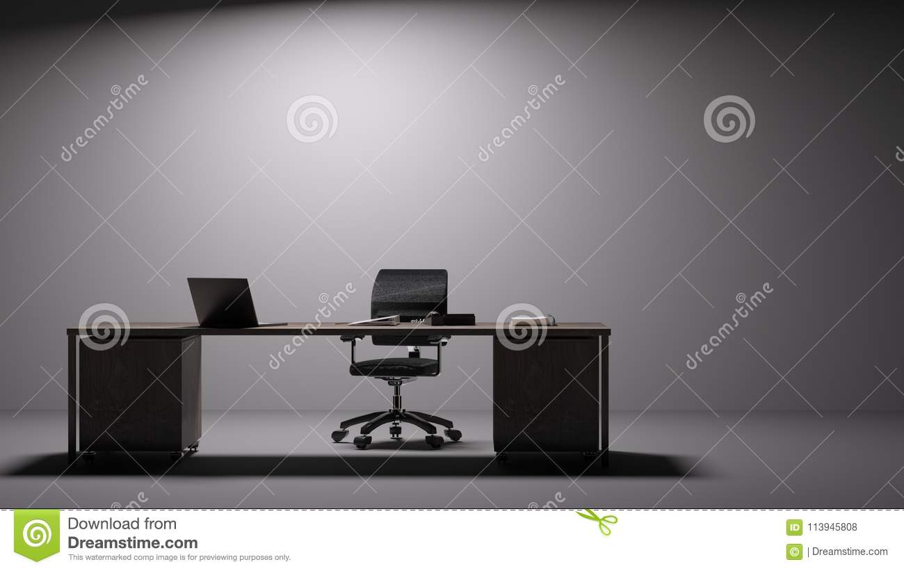 - Large Contemporary Desk In Front Of Plain Wall Stock Illustration