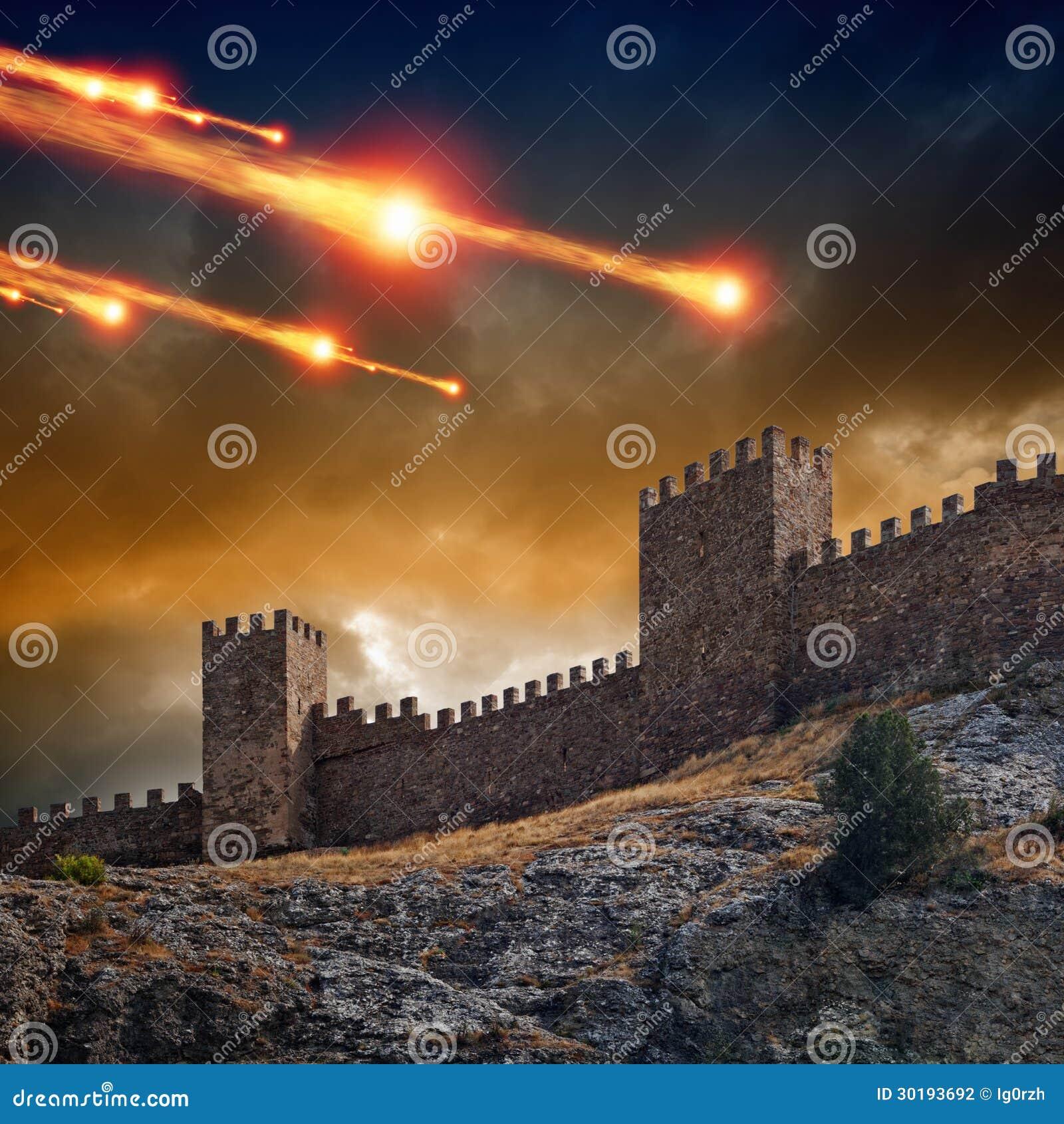 Oude vesting, toren onder aanval