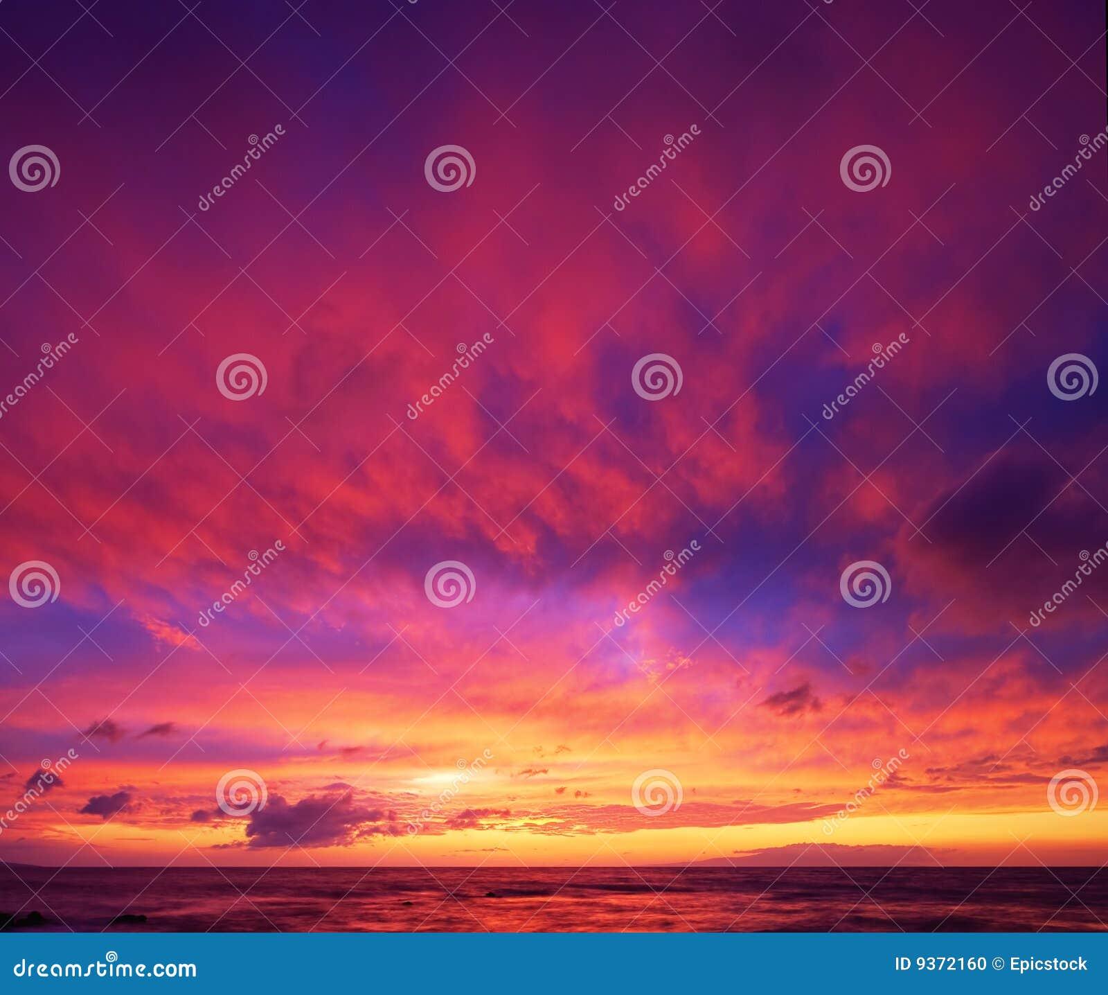 Dramatische Hawaiiaanse Zonsondergang