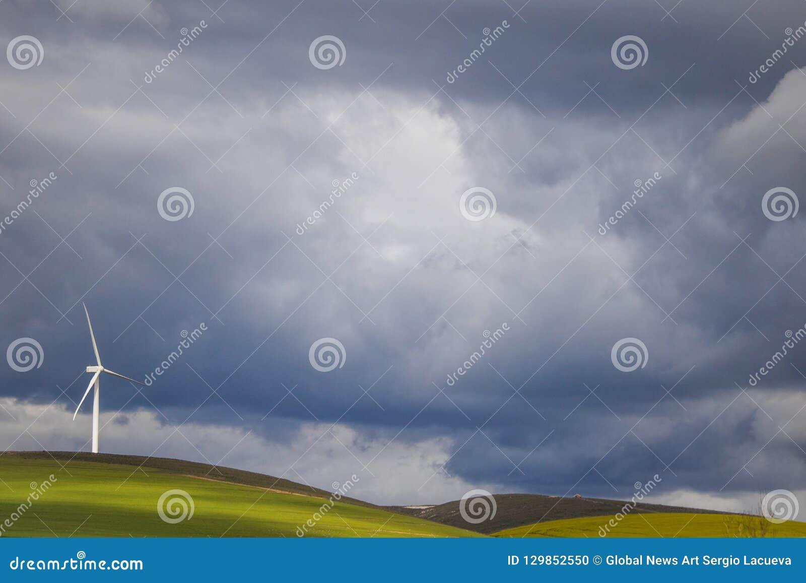Dramatyczna burza nad silnikiem wiatrowym w zieleni polach - Caledon, Zachodni przylądek, Południowa Afryka