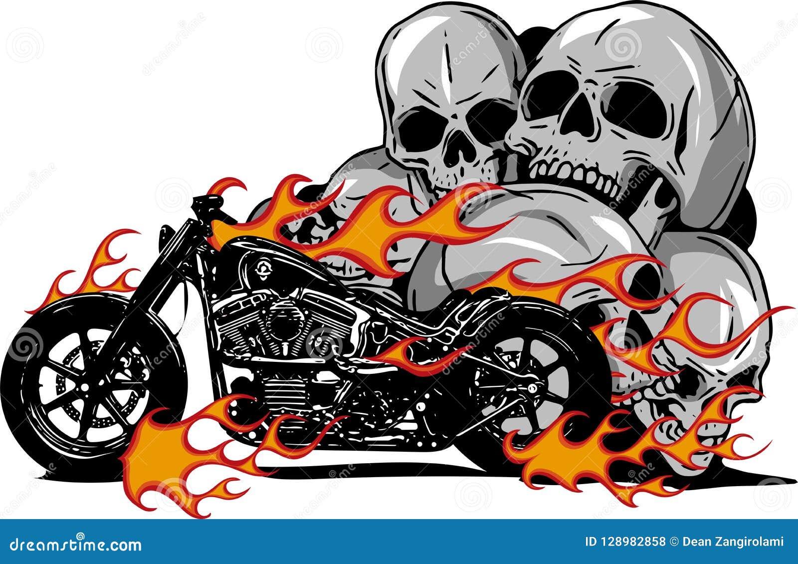 Dramatyczny płonący motocykl ogarniający w srogich ognistych pomarańcze płomieniach, ogieniu wybucha iskry i