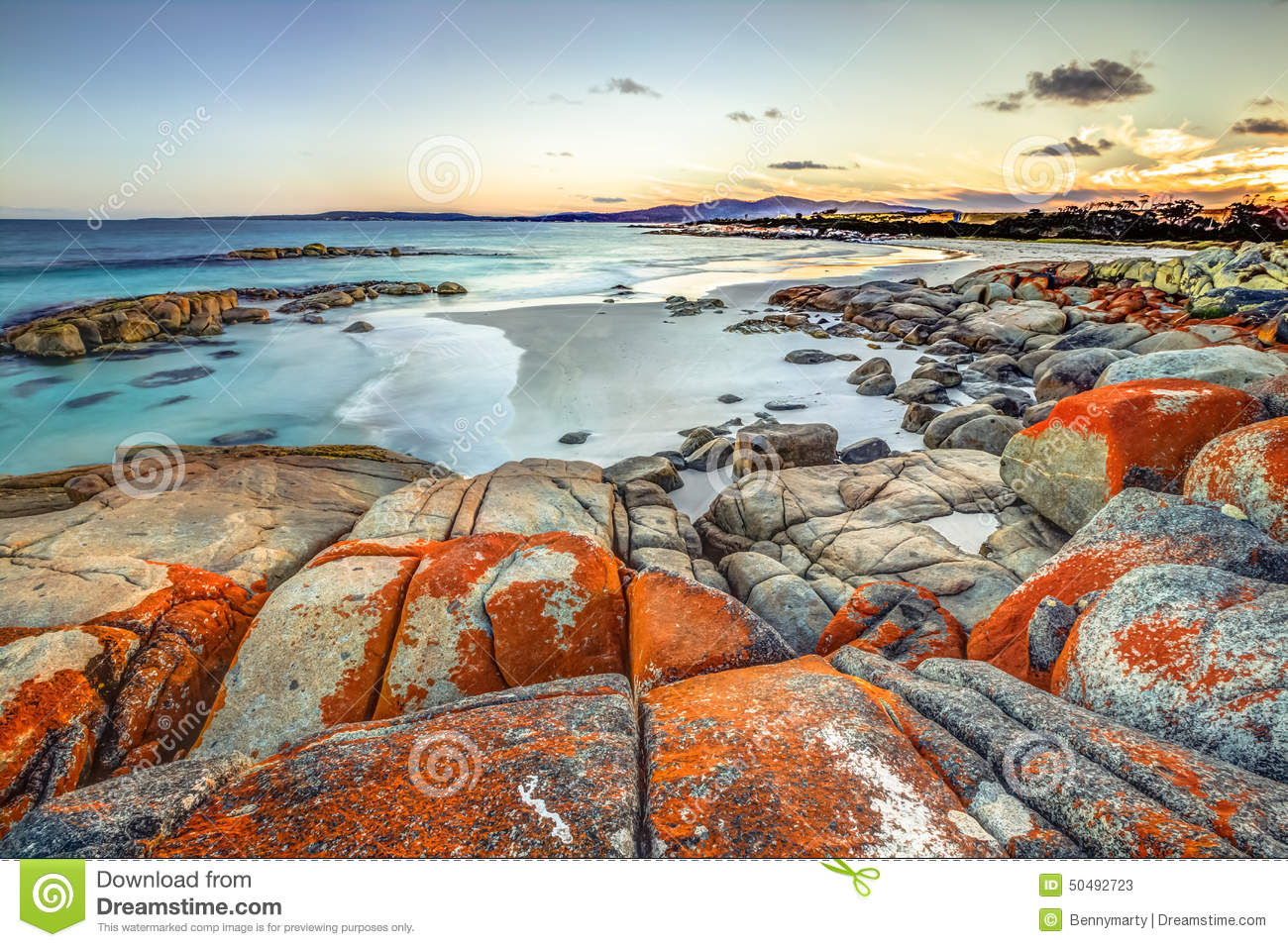 Bay of fires stock photo image 50492723 for Landscaping rocks tasmania