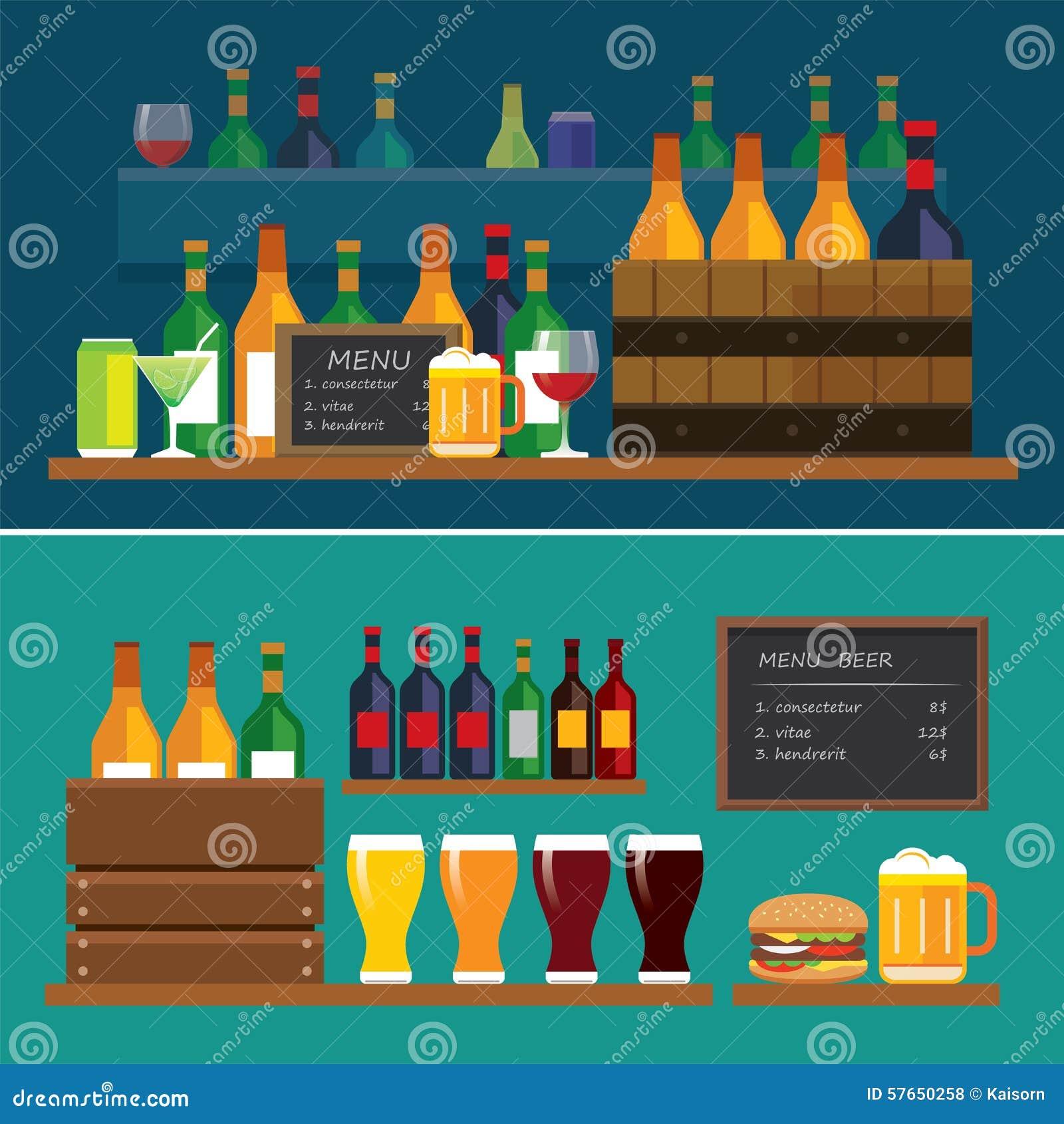 Drank en bier vlakke ontwerpbanner