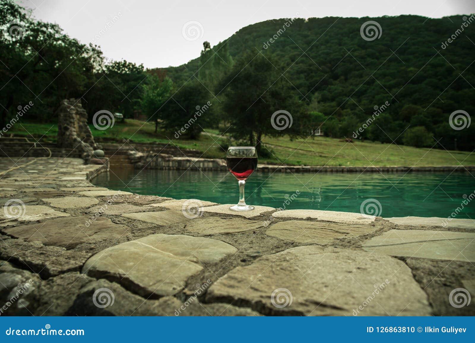 Drank in lang glas in poolside Verfrissing op de zomerdag Purpere sapcocktail of wijnstok