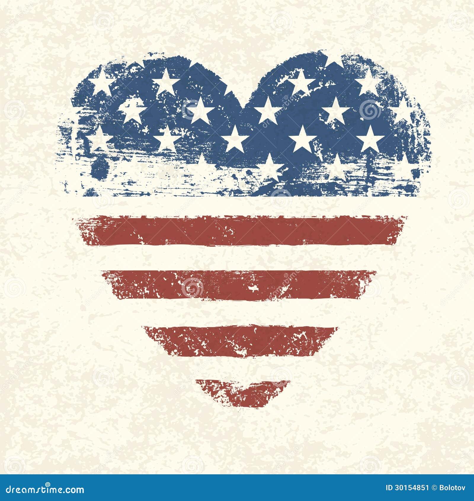 Drapeau américain en forme de coeur.