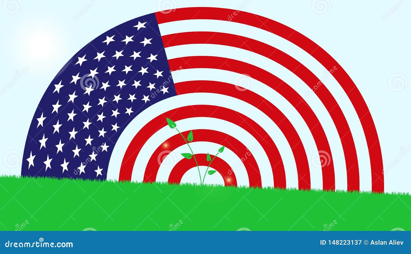 Drapeau américain sur des gras verts
