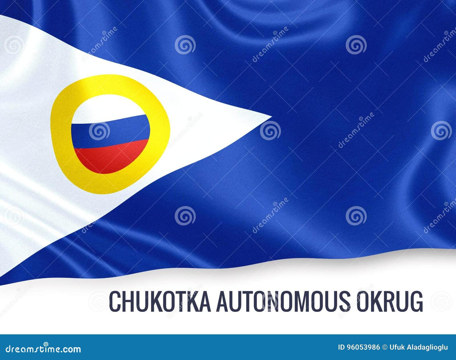 Drapeau autonome de Chukotka Okrug d état russe ondulant sur un isolat