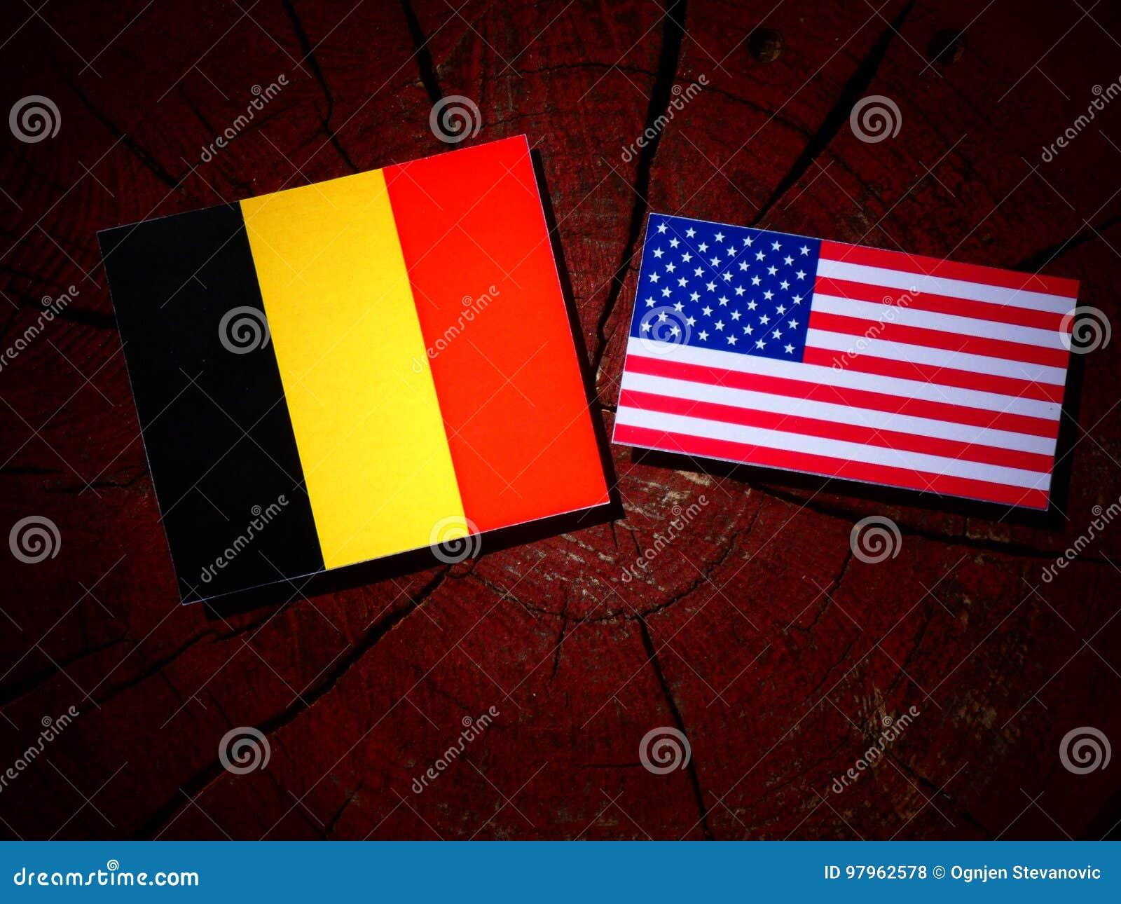 Drapeau belge avec le drapeau des Etats-Unis sur un tronçon d arbre