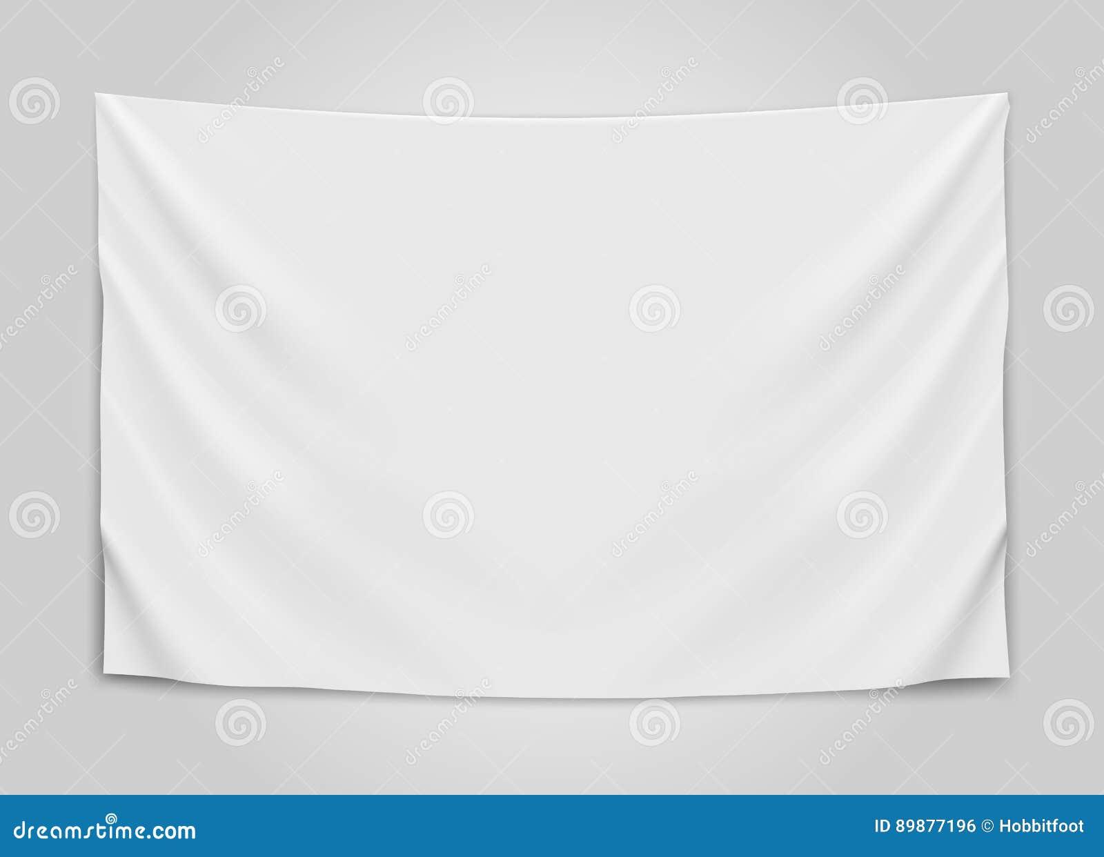 Drapeau blanc vide accrochant Concept vide de drapeau
