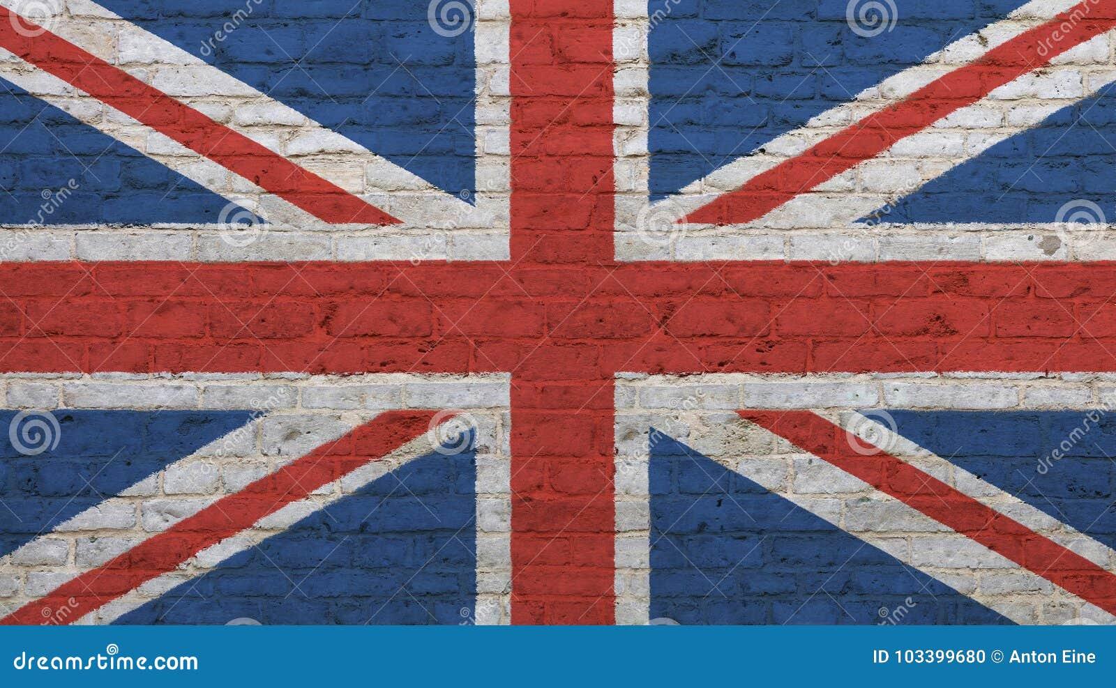 drapeau britannique britannique de vieux vintage au dessus de mur de briques photo stock image. Black Bedroom Furniture Sets. Home Design Ideas