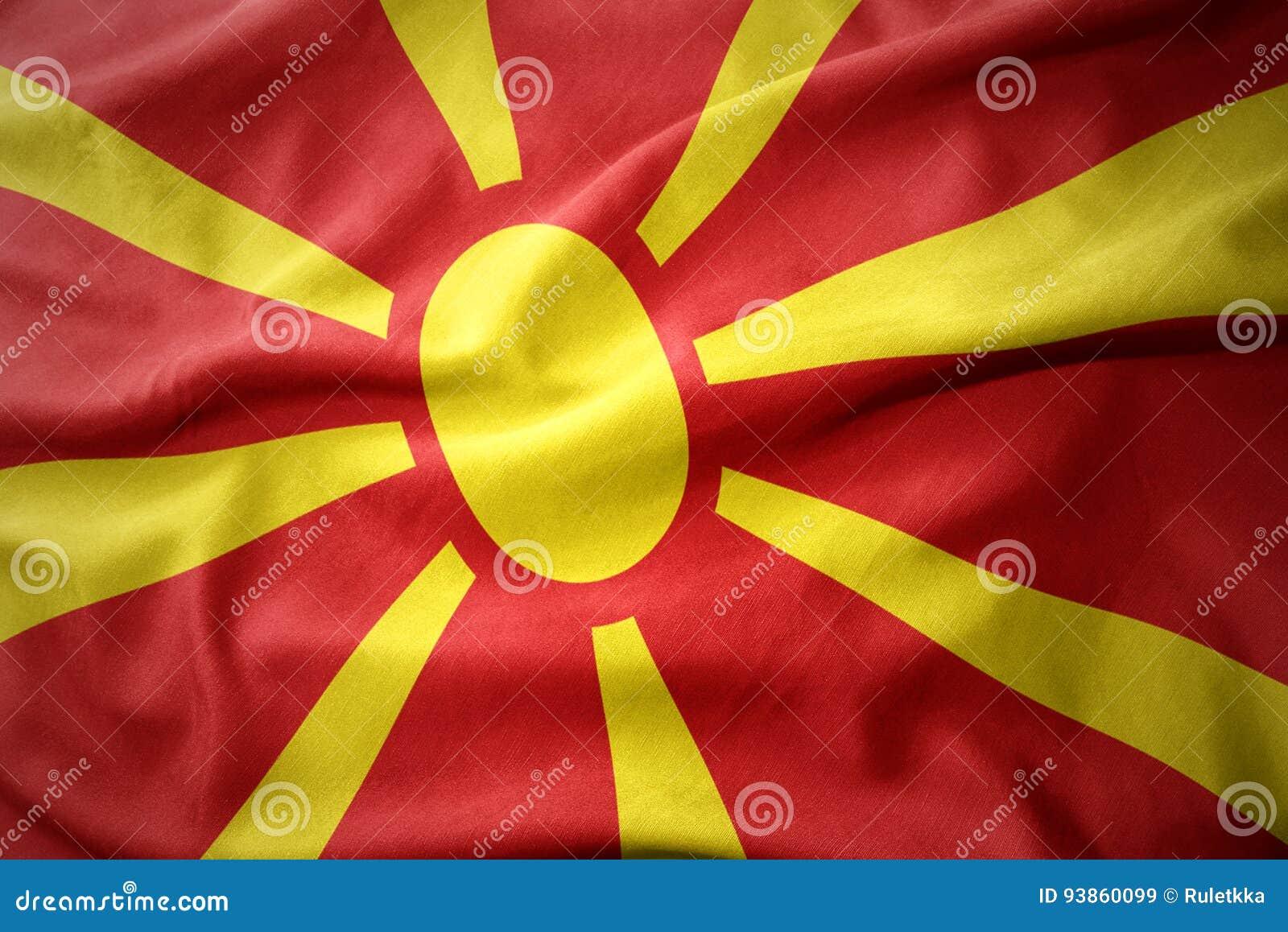 Drapeau coloré de ondulation de la Macédoine