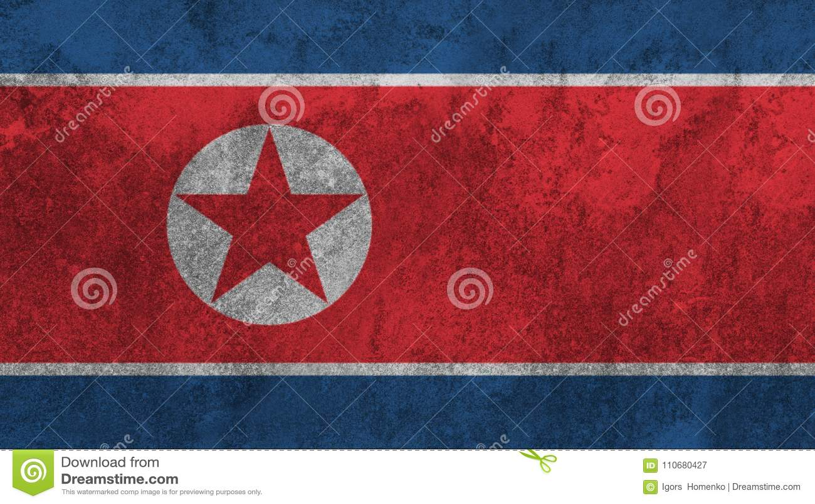 Drapeau coréen du nord peint sur le mur