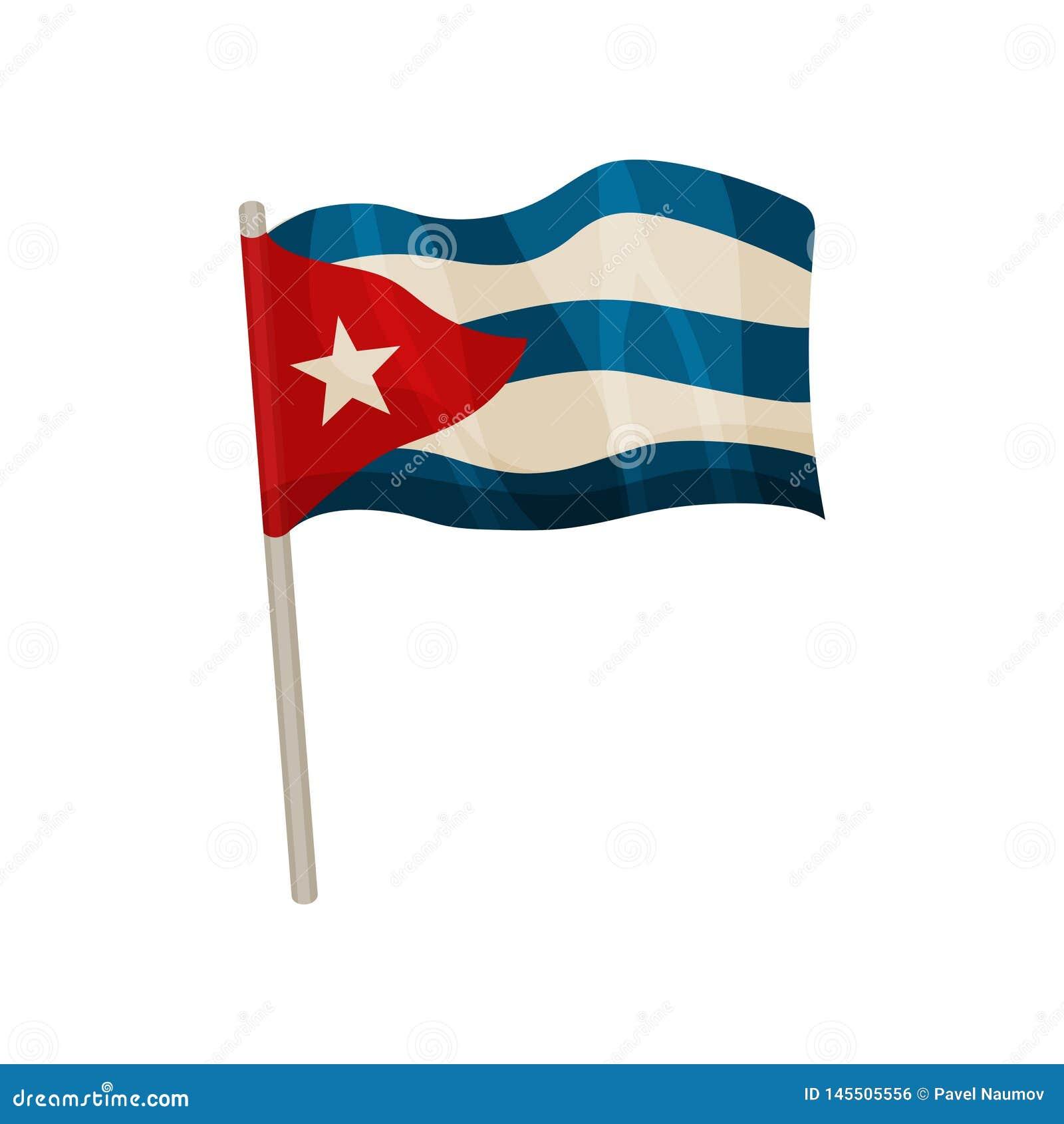 Drapeau cubain se brisant Illustration de vecteur sur le fond blanc