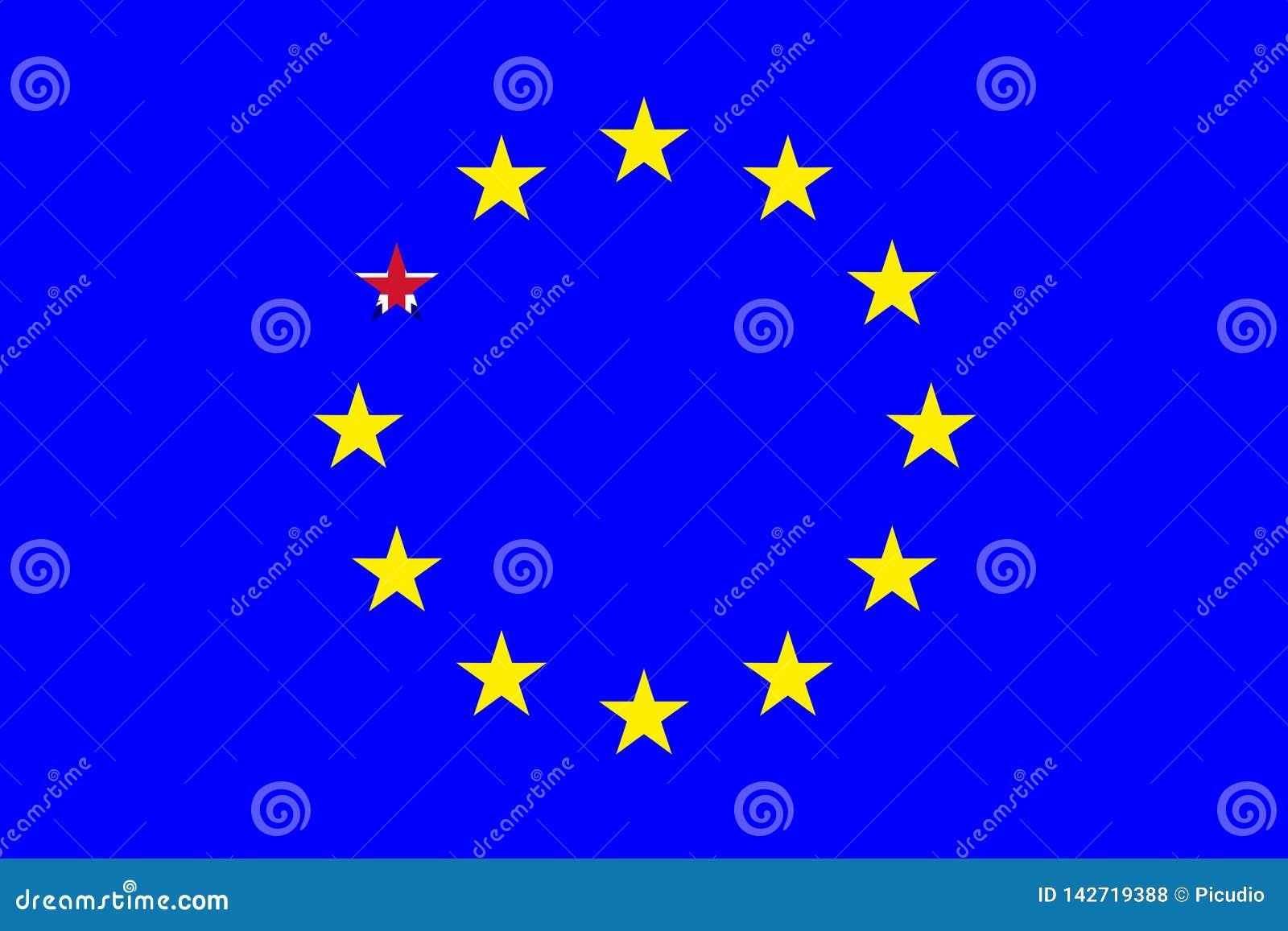 Drapeau Détoile Brexit Due R U De Leurope Illustration