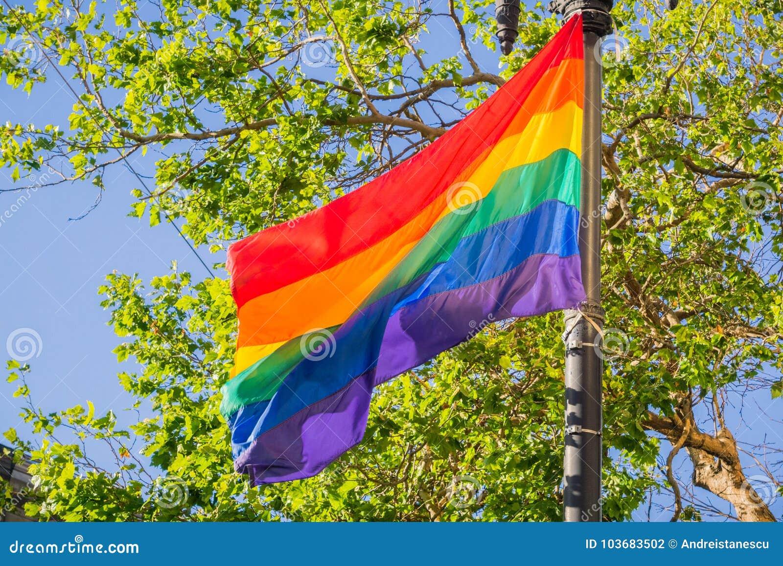 Drapeau d arc-en-ciel soufflant dans le vent, mois de fierté de LGBTQ, San Francisco, la Californie