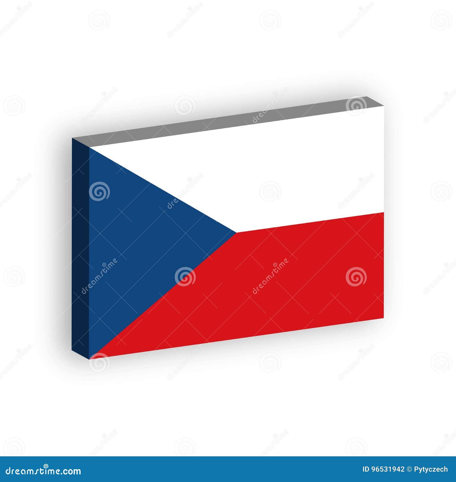Drapeau 3D de République Tchèque Dirigez l illustration avec l ombre laissée tomber d isolement sur le fond blanc