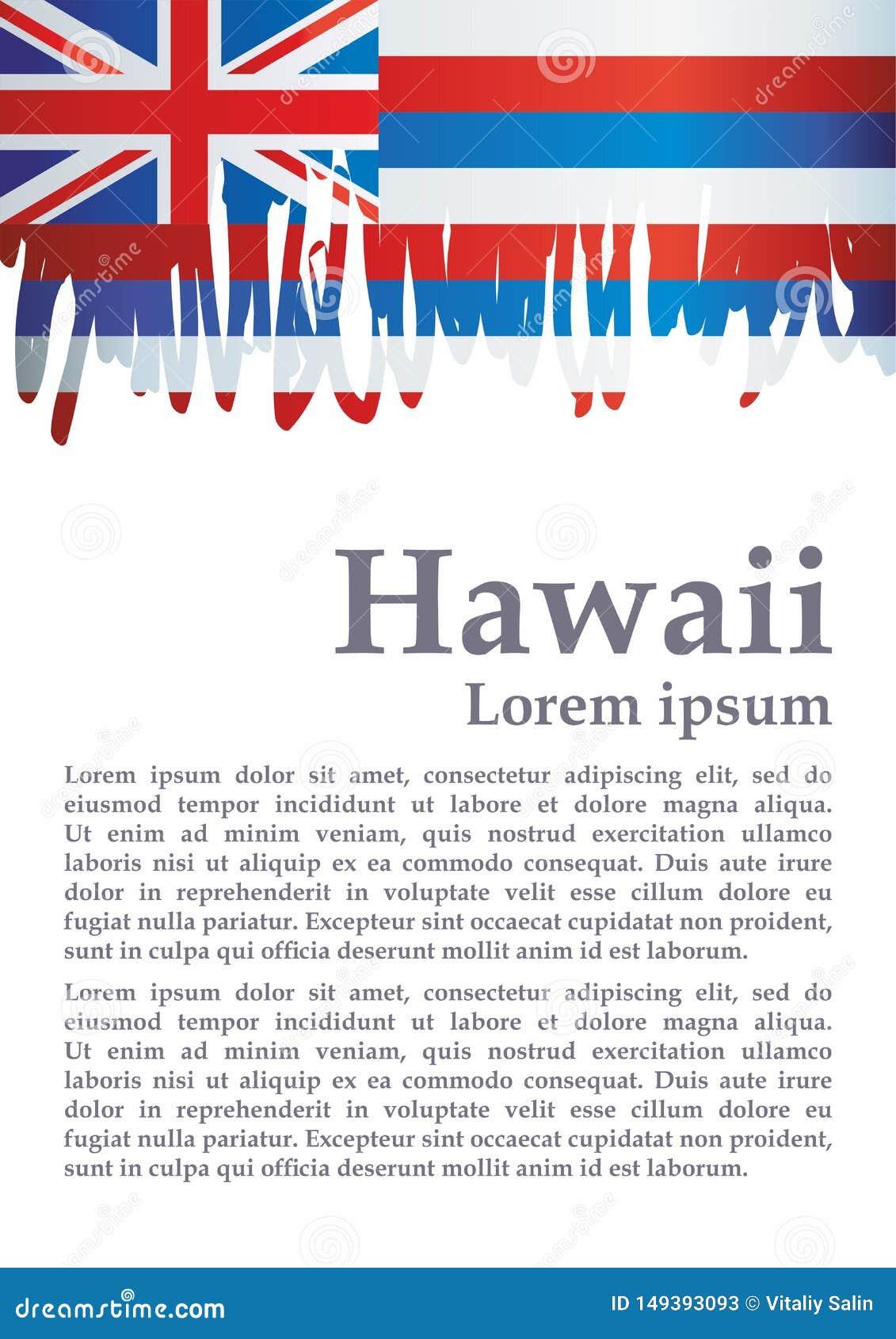 Drapeau d Hawaï, état d Hawaii, Etats-Unis d Amérique Calibre pour la conception de récompense, un document officiel avec le drap