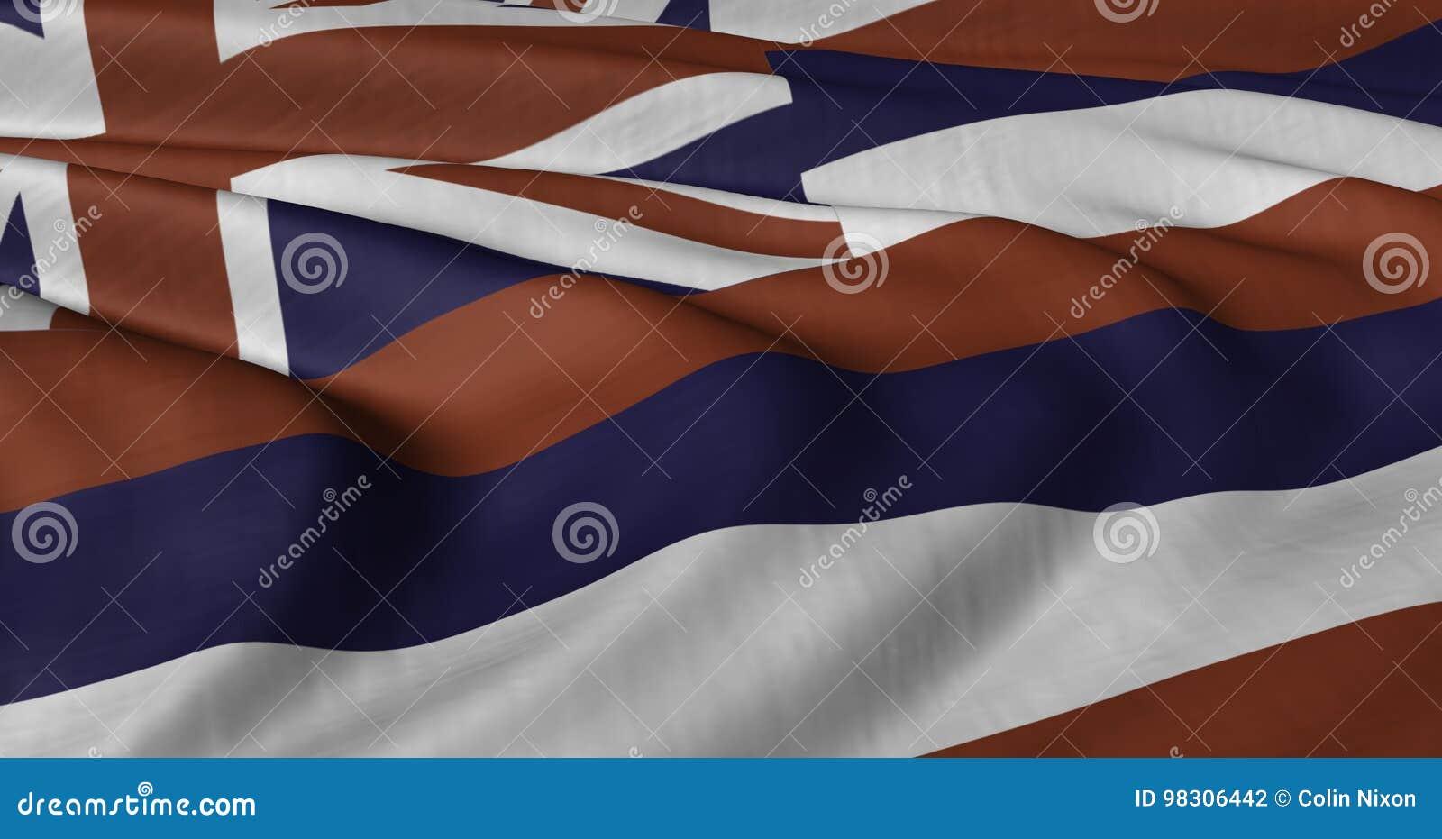 Drapeau d Hawaï flottant en brise légère
