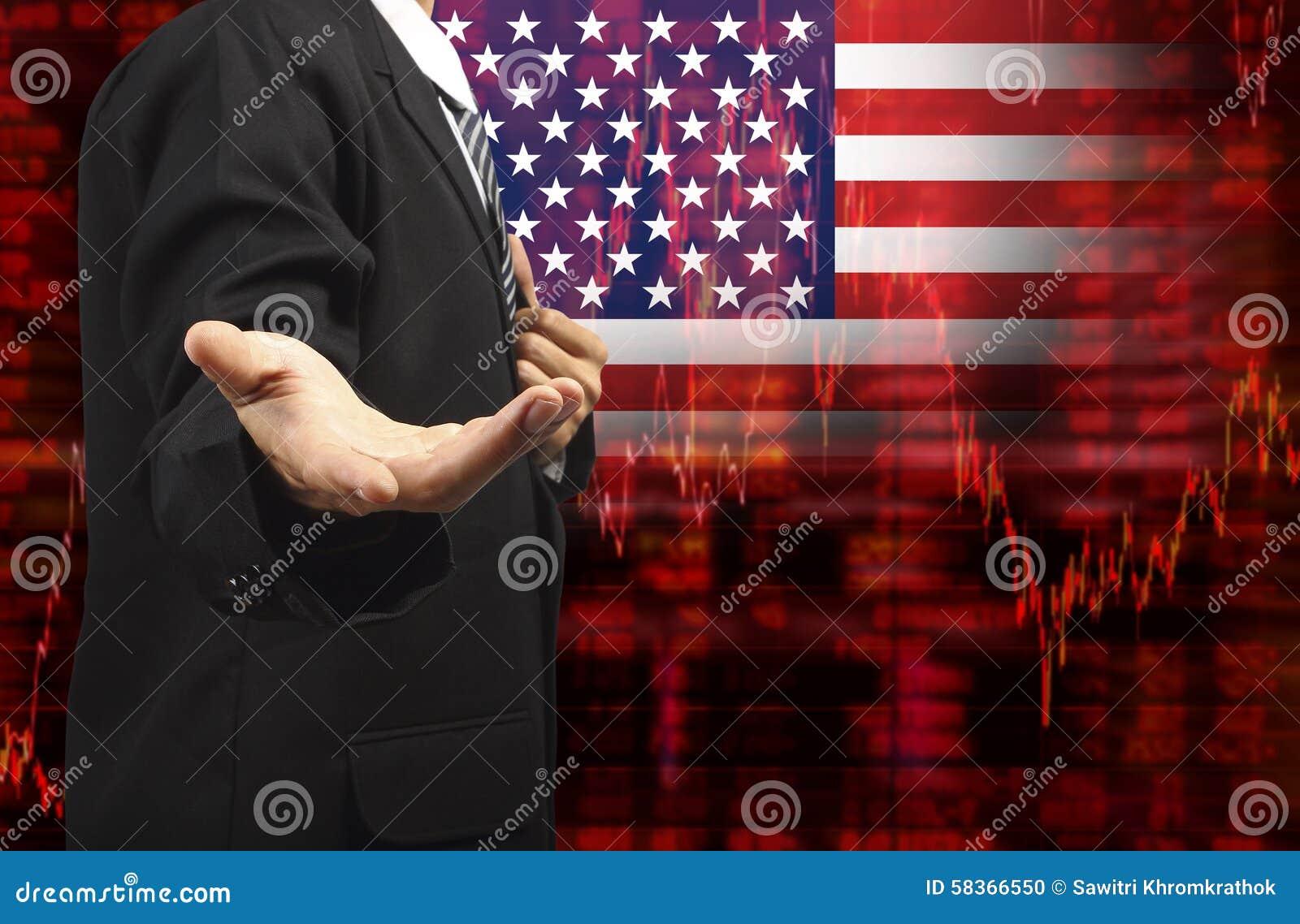 Drapeau de diagramme d actions de tendance à la baisse des Etats-Unis avec la main vide d affaires