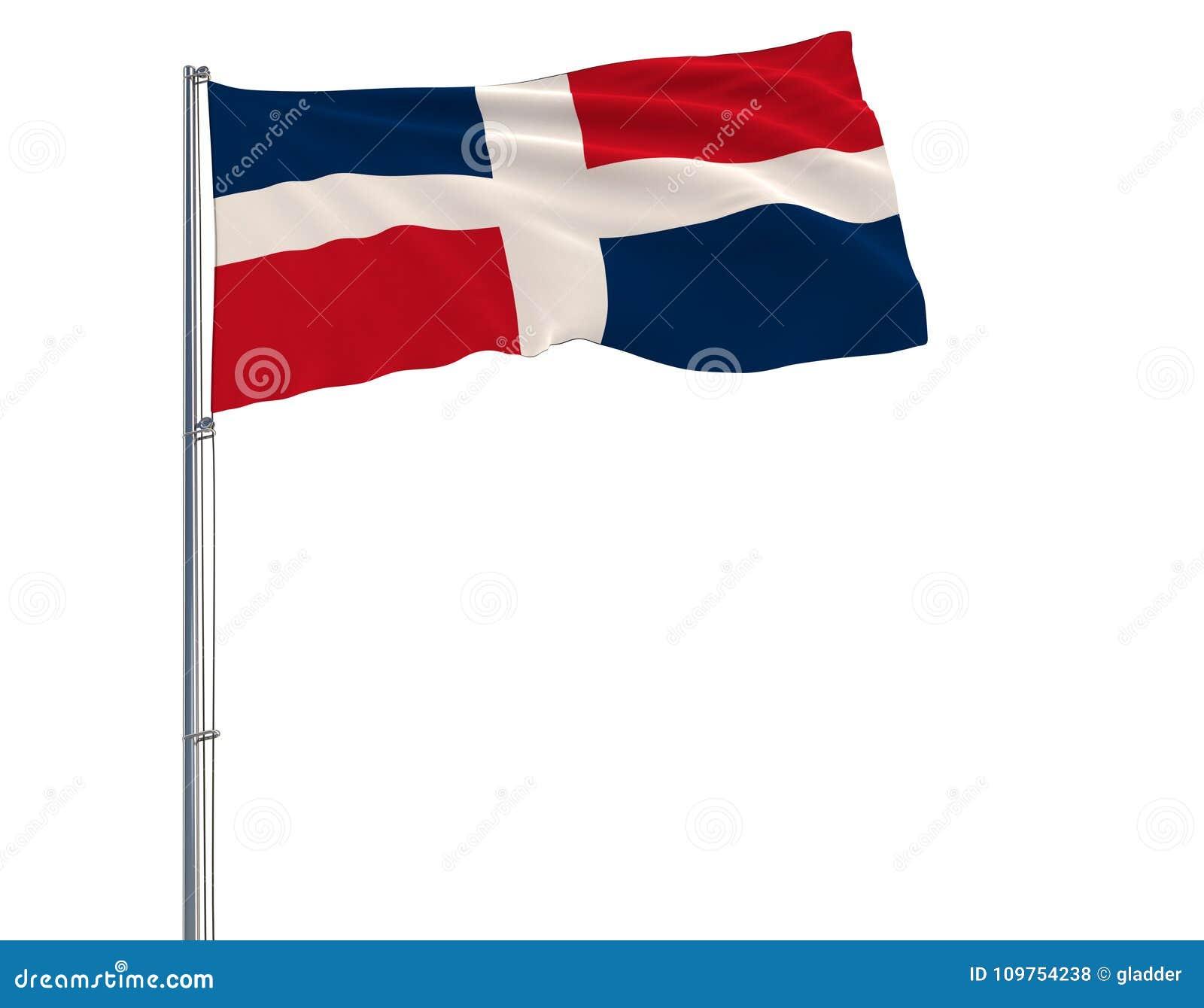 Drapeau de Dominicain sur le mât de drapeau flottant dans le vent sur le fond blanc, rendu 3d