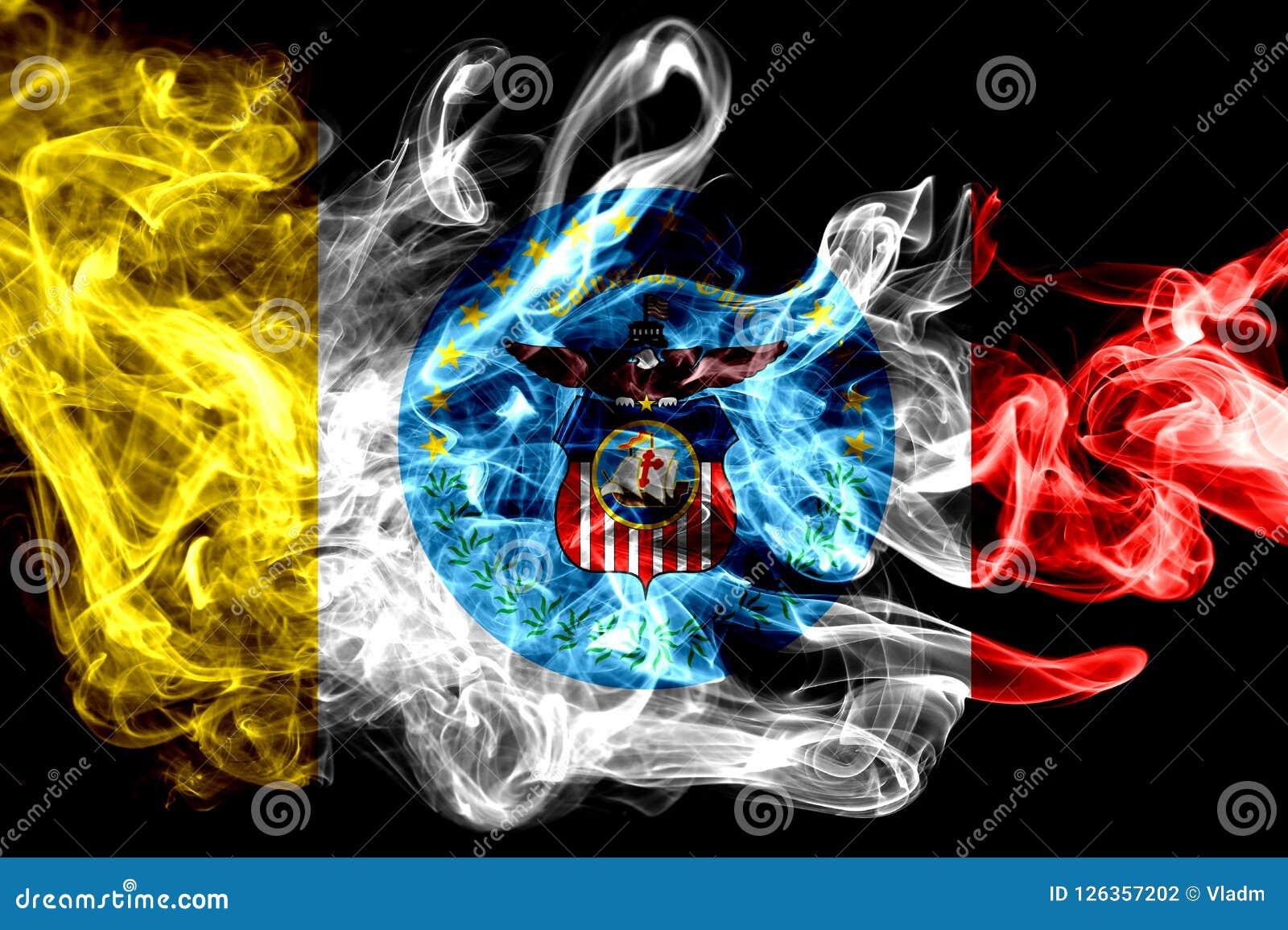 Drapeau de fumée de ville de Columbus, état de l Ohio, Etats-Unis d Amérique