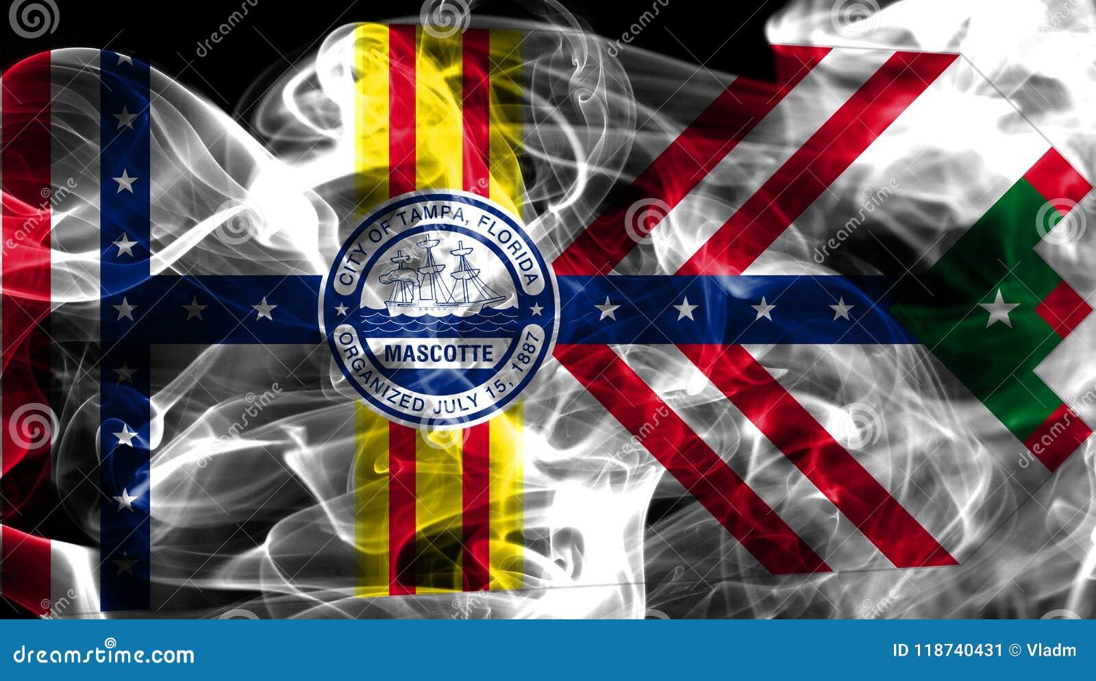 Drapeau de fumée de ville de Tampa, état de la Floride, Etats-Unis d Amérique
