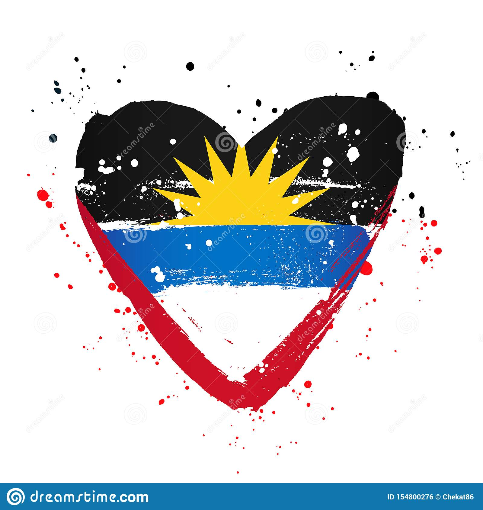 Drapeau de l Antigua-et-Barbuda sous forme de grand coeur